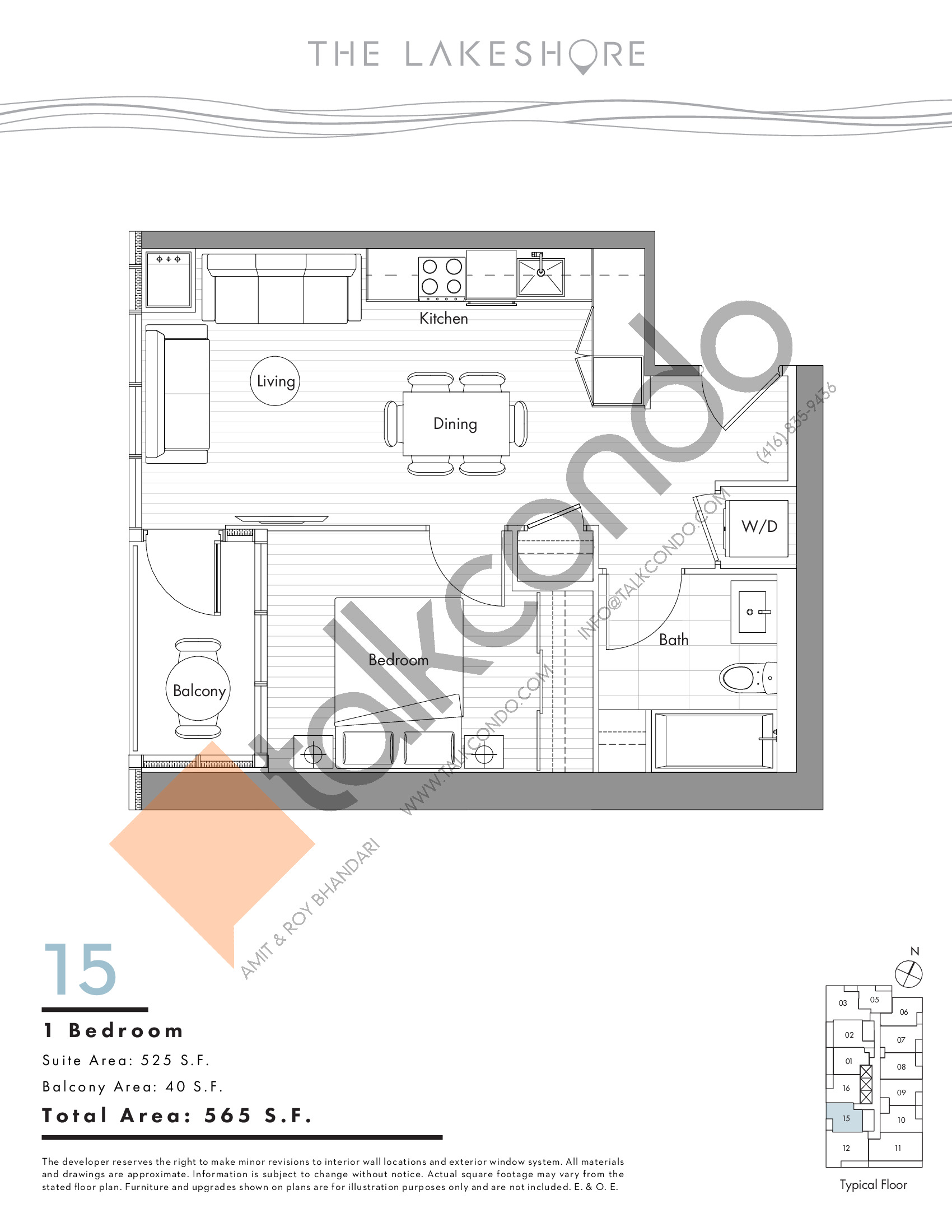 15 Floor Plan at The LakeShore Condos - 525 sq.ft