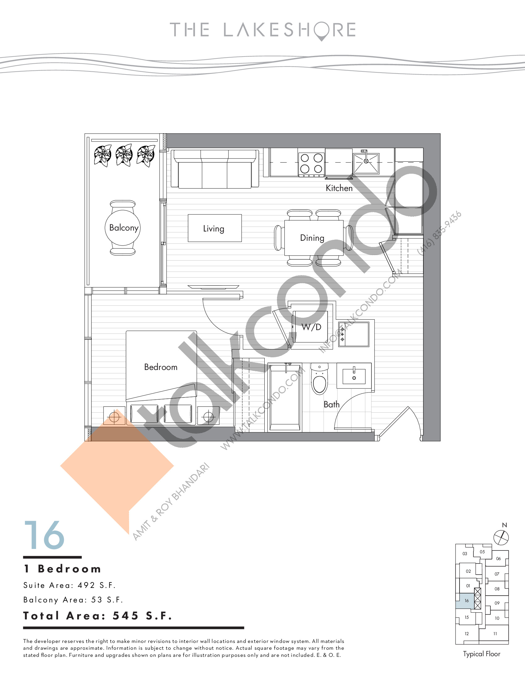 16 Floor Plan at The LakeShore Condos - 492 sq.ft