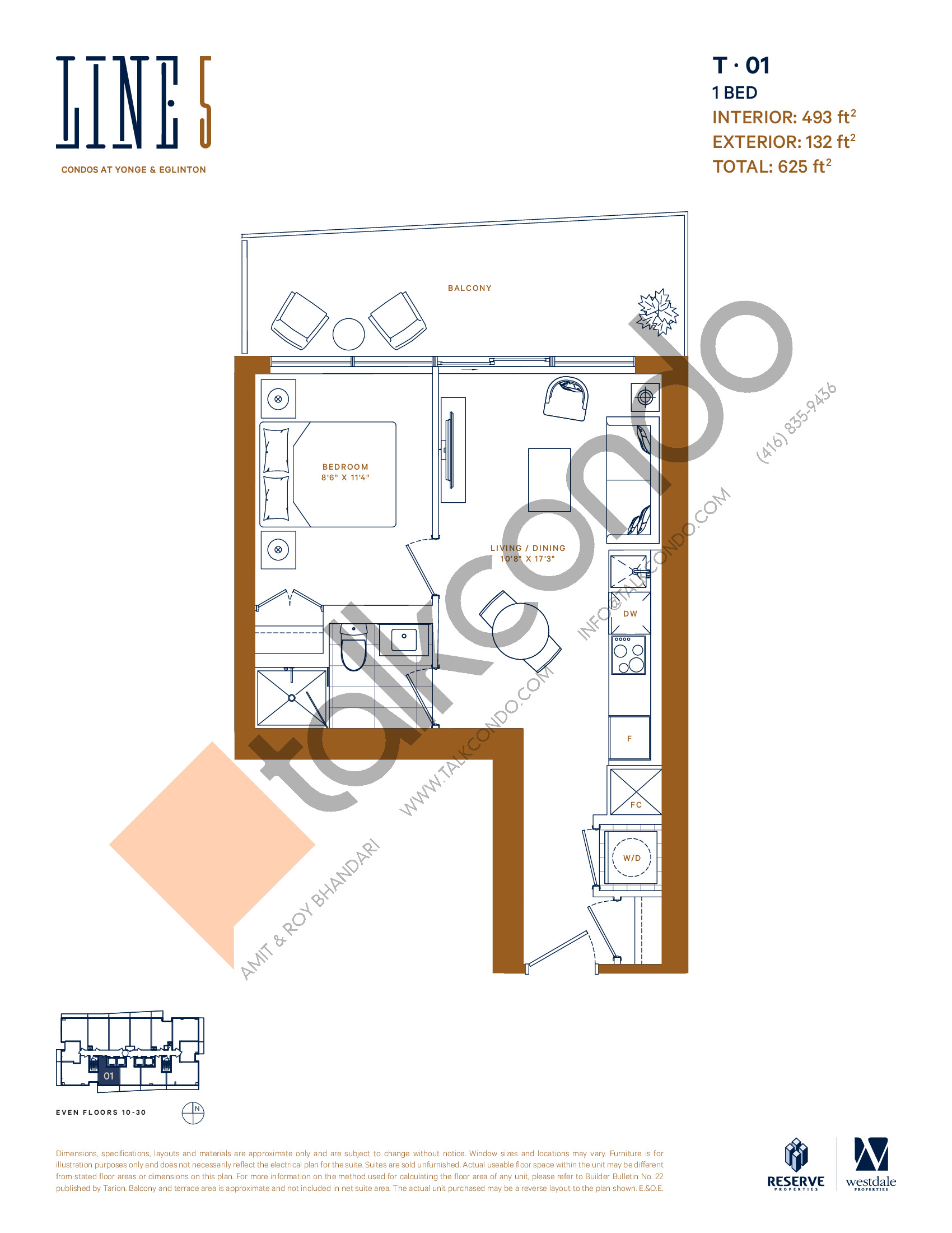 T-01 (New Release) Floor Plan at Line 5 South Tower Condos - 493 sq.ft