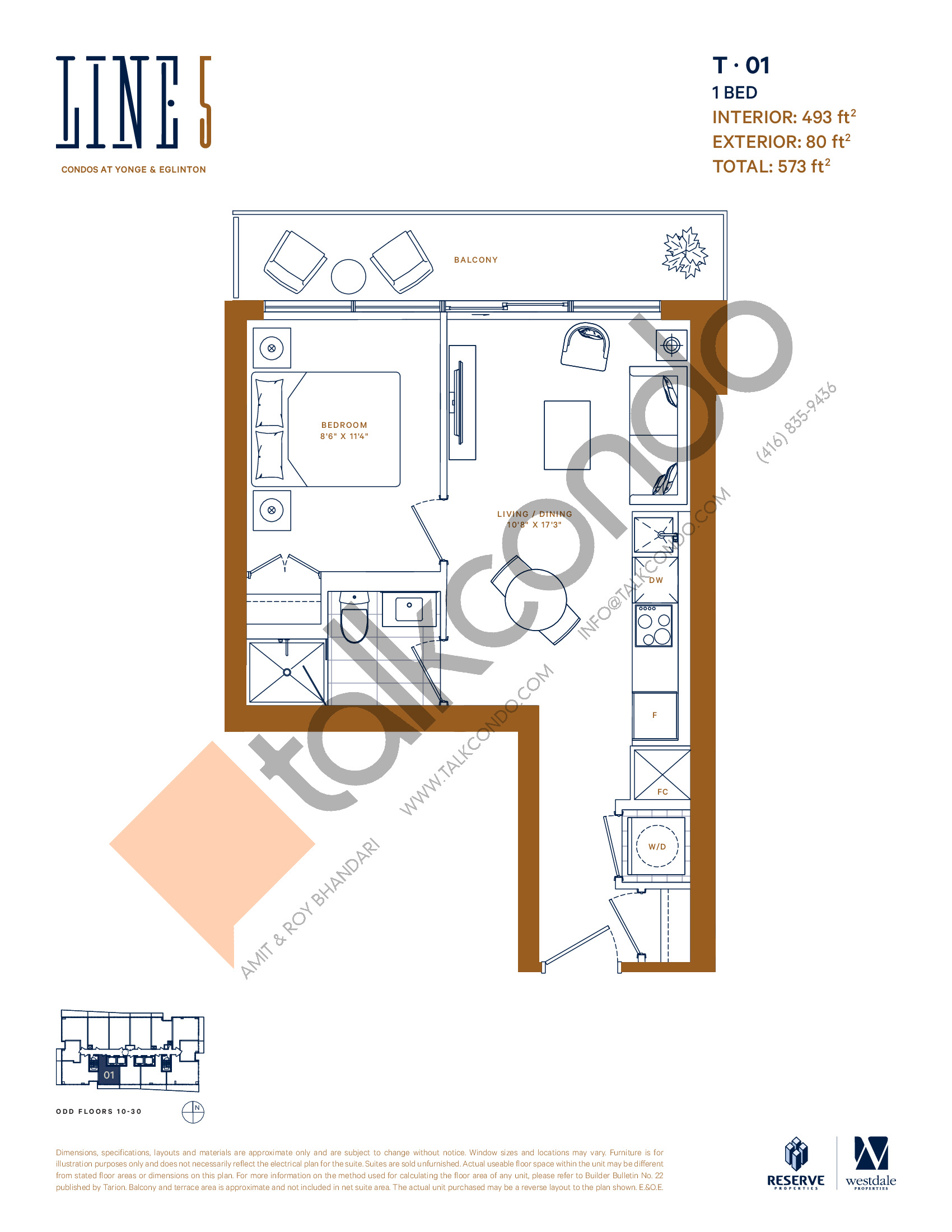 T-01 Floor Plan at Line 5 South Tower Condos - 493 sq.ft
