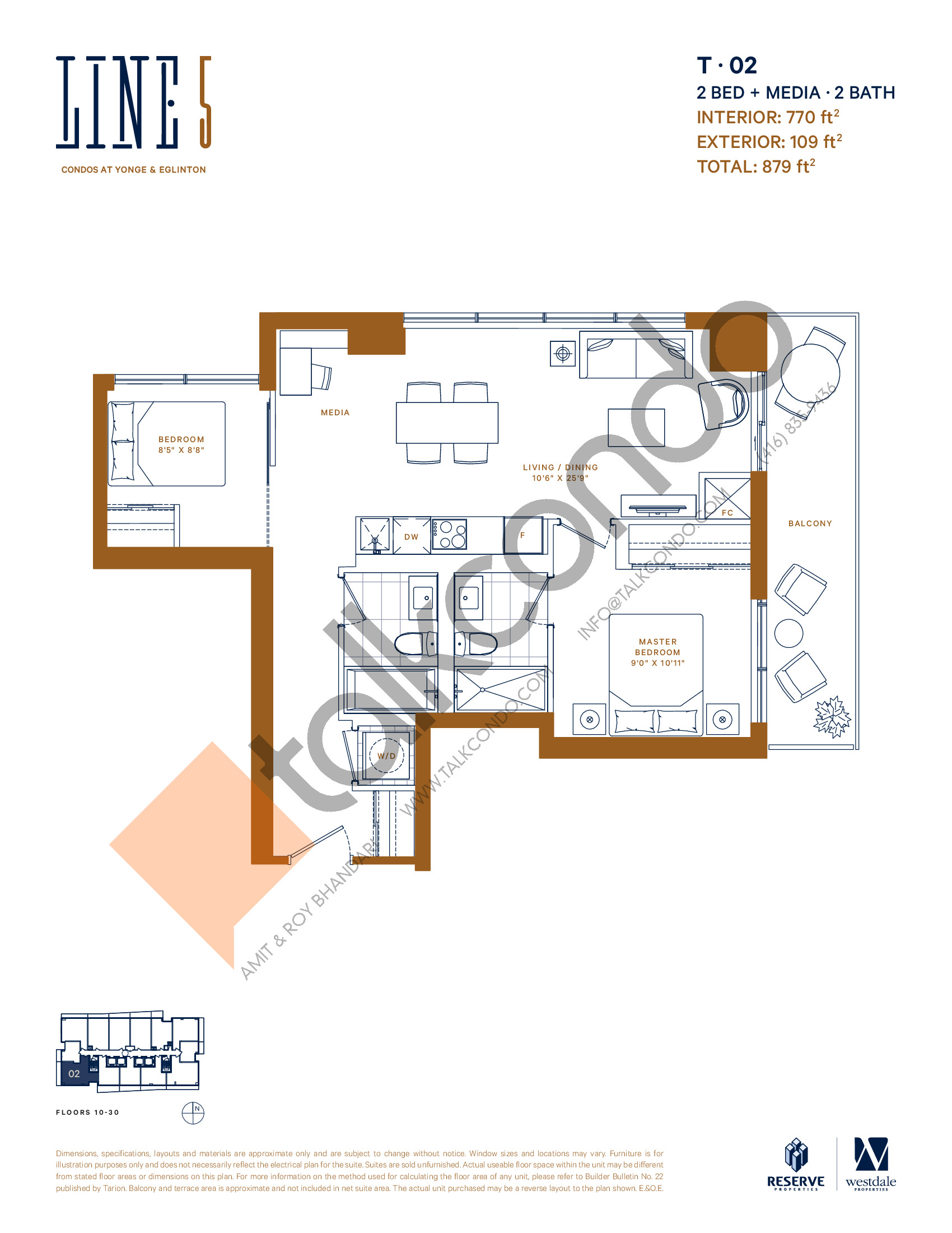 T-02 Floor Plan at Line 5 South Tower Condos - 770 sq.ft