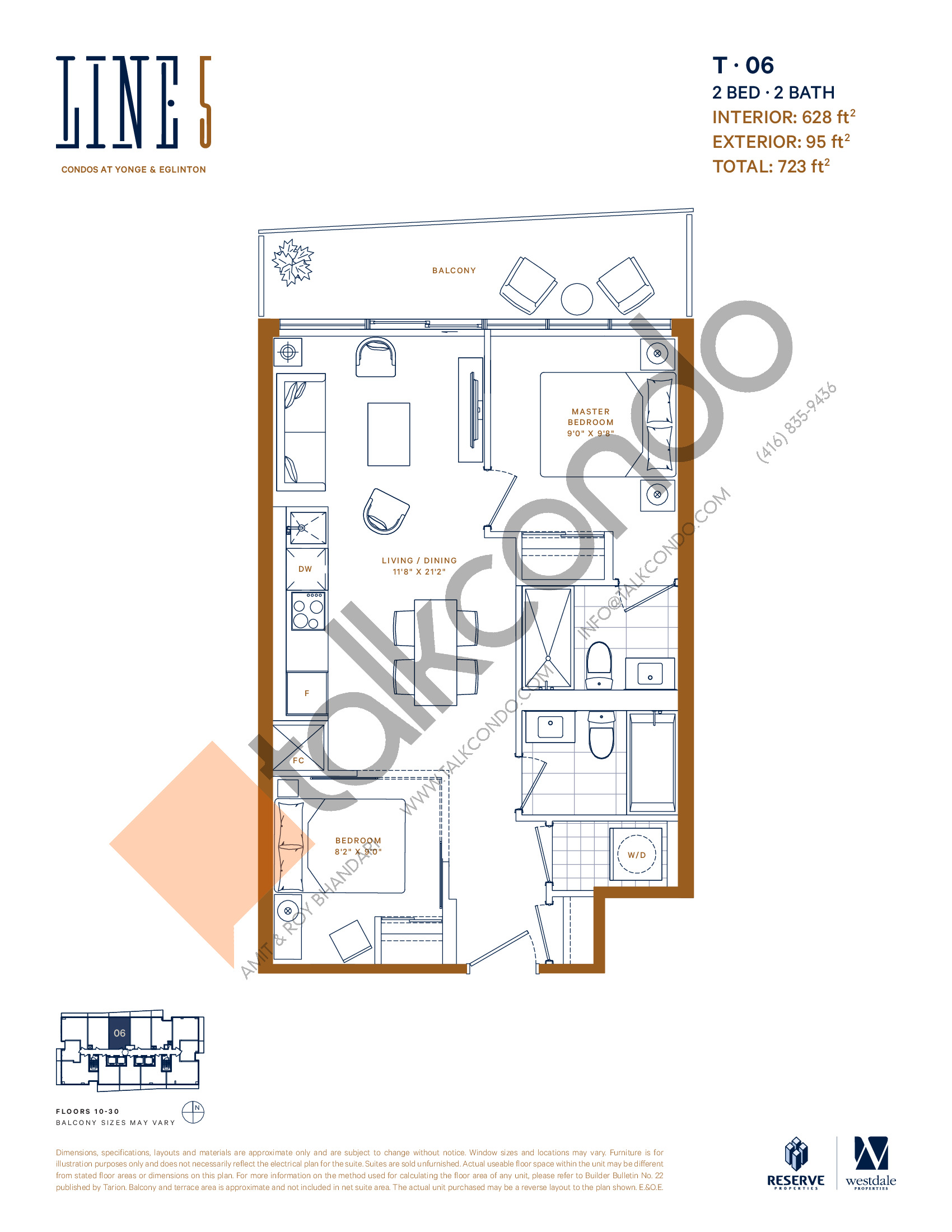 T-06 Floor Plan at Line 5 South Tower Condos - 628 sq.ft