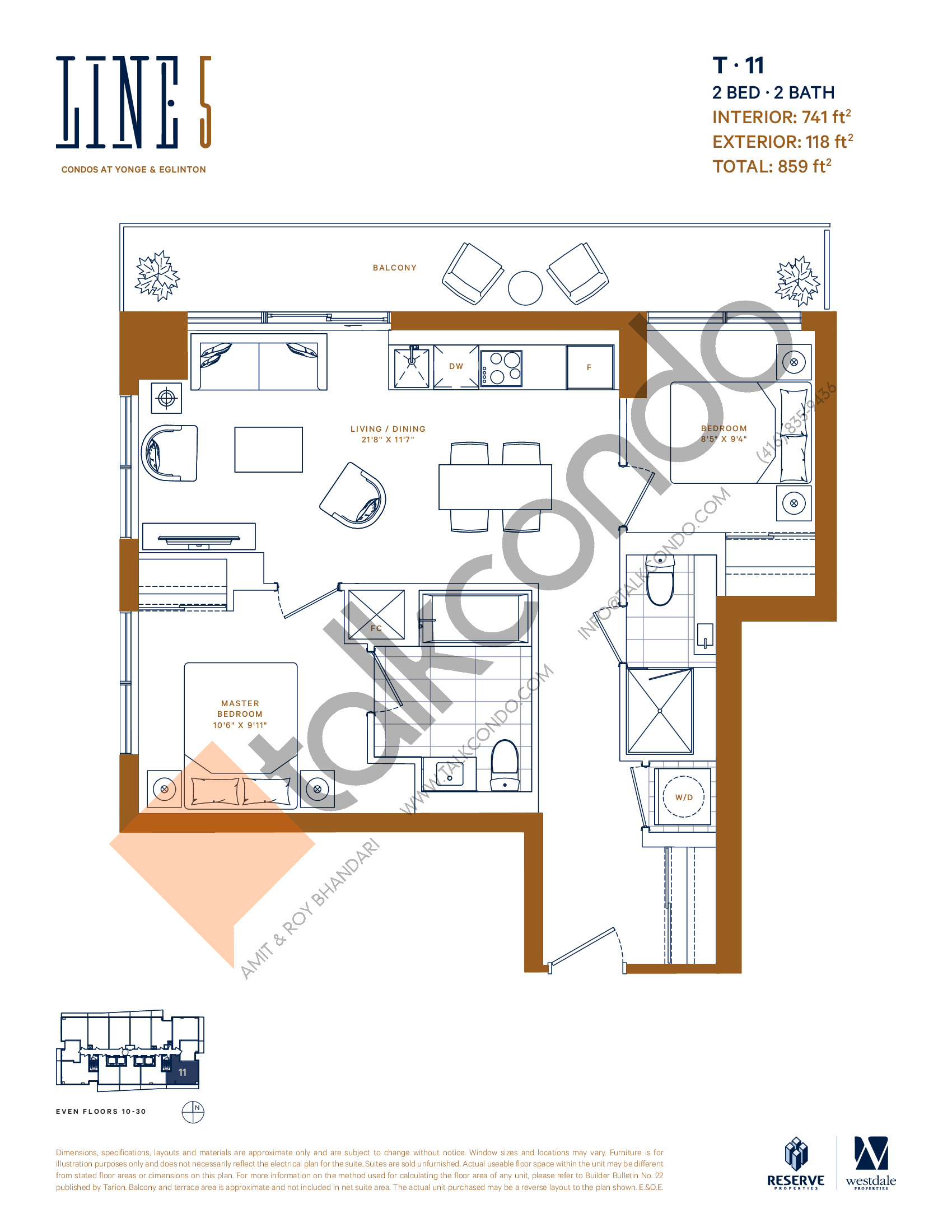 T-11 Floor Plan at Line 5 South Tower Condos - 741 sq.ft
