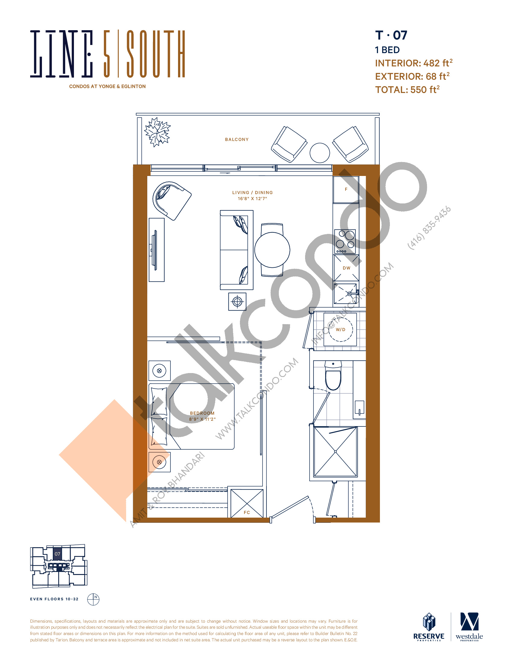 T-07 (New Release) Floor Plan at Line 5 South Tower Condos - 482 sq.ft