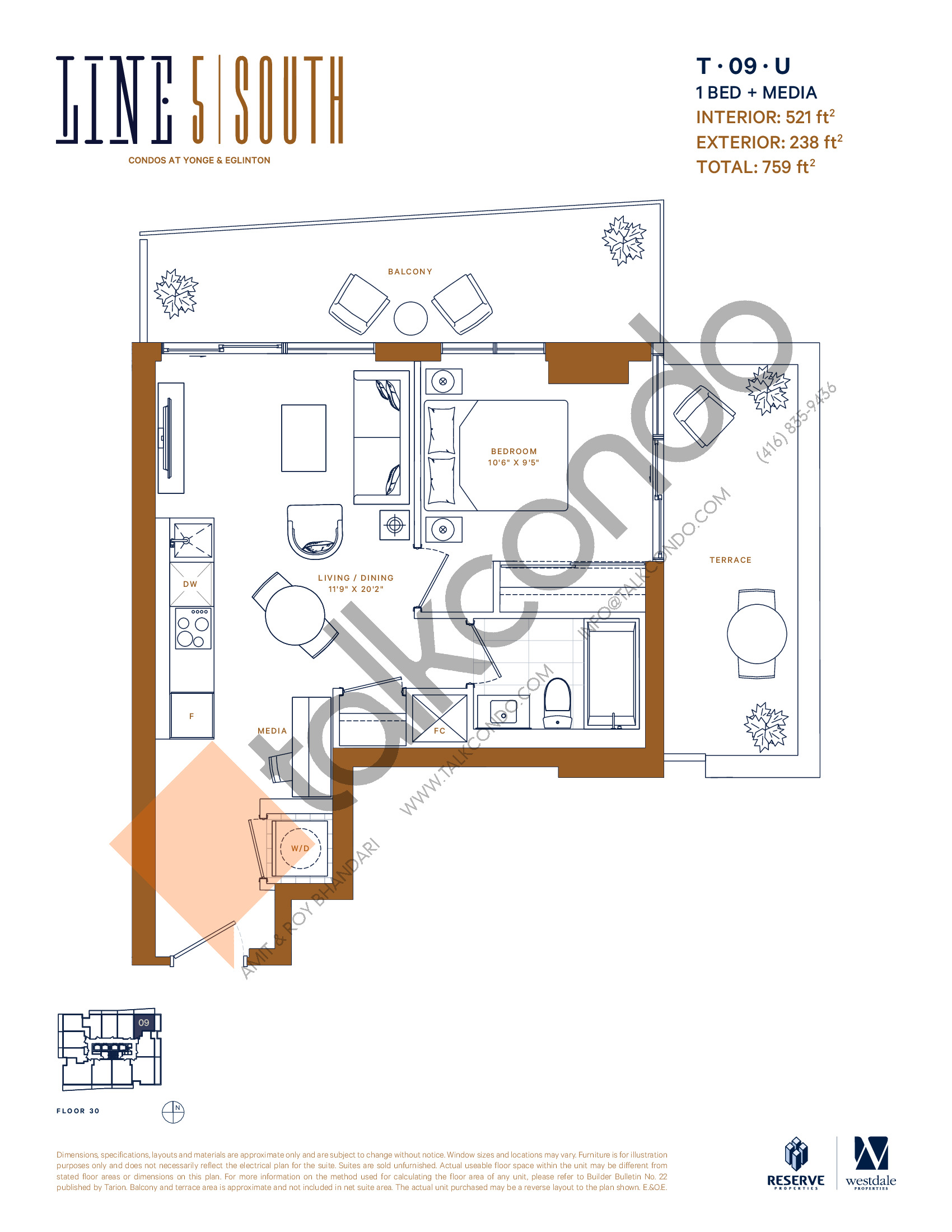 T-09-U Floor Plan at Line 5 South Tower Condos - 521 sq.ft