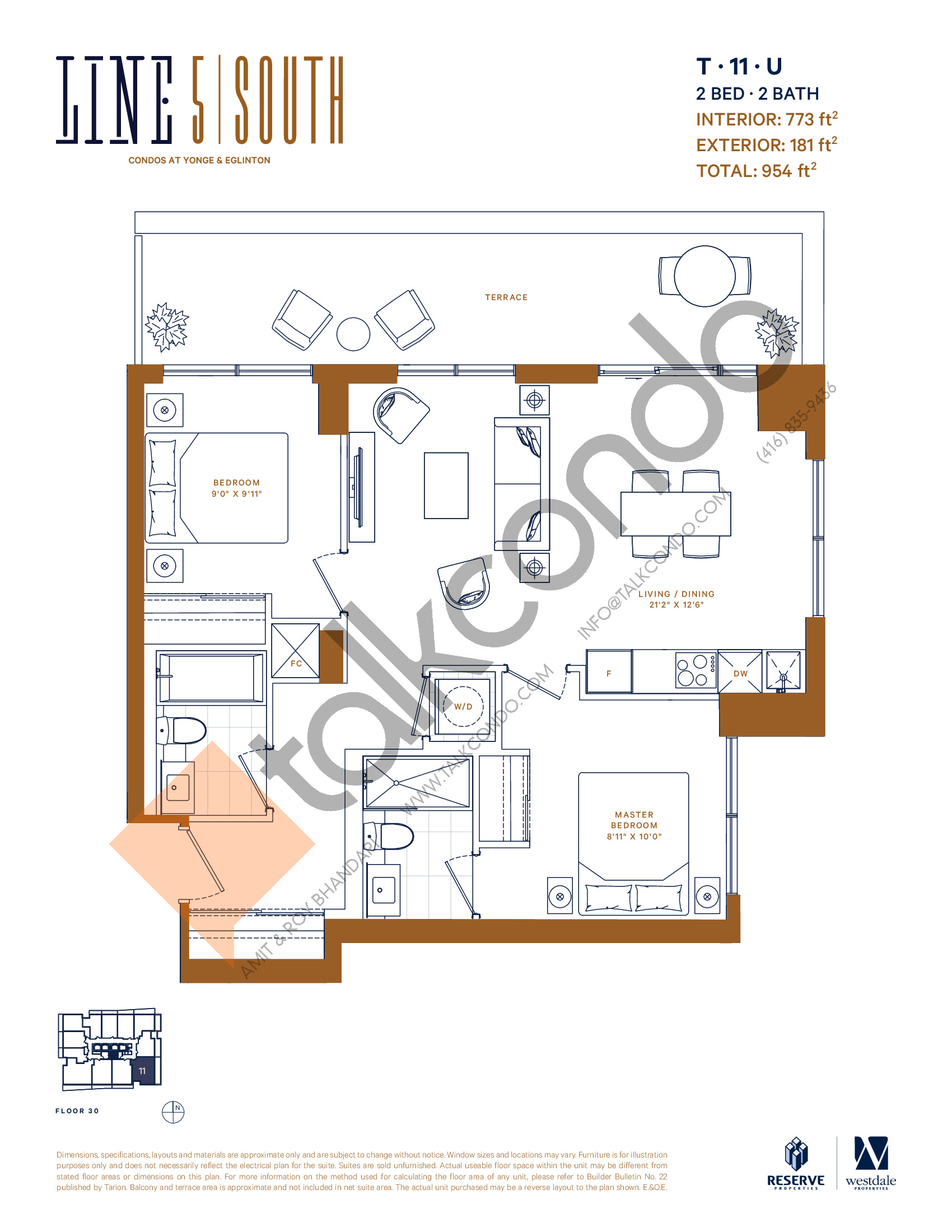 T-11-U Floor Plan at Line 5 South Tower Condos - 773 sq.ft