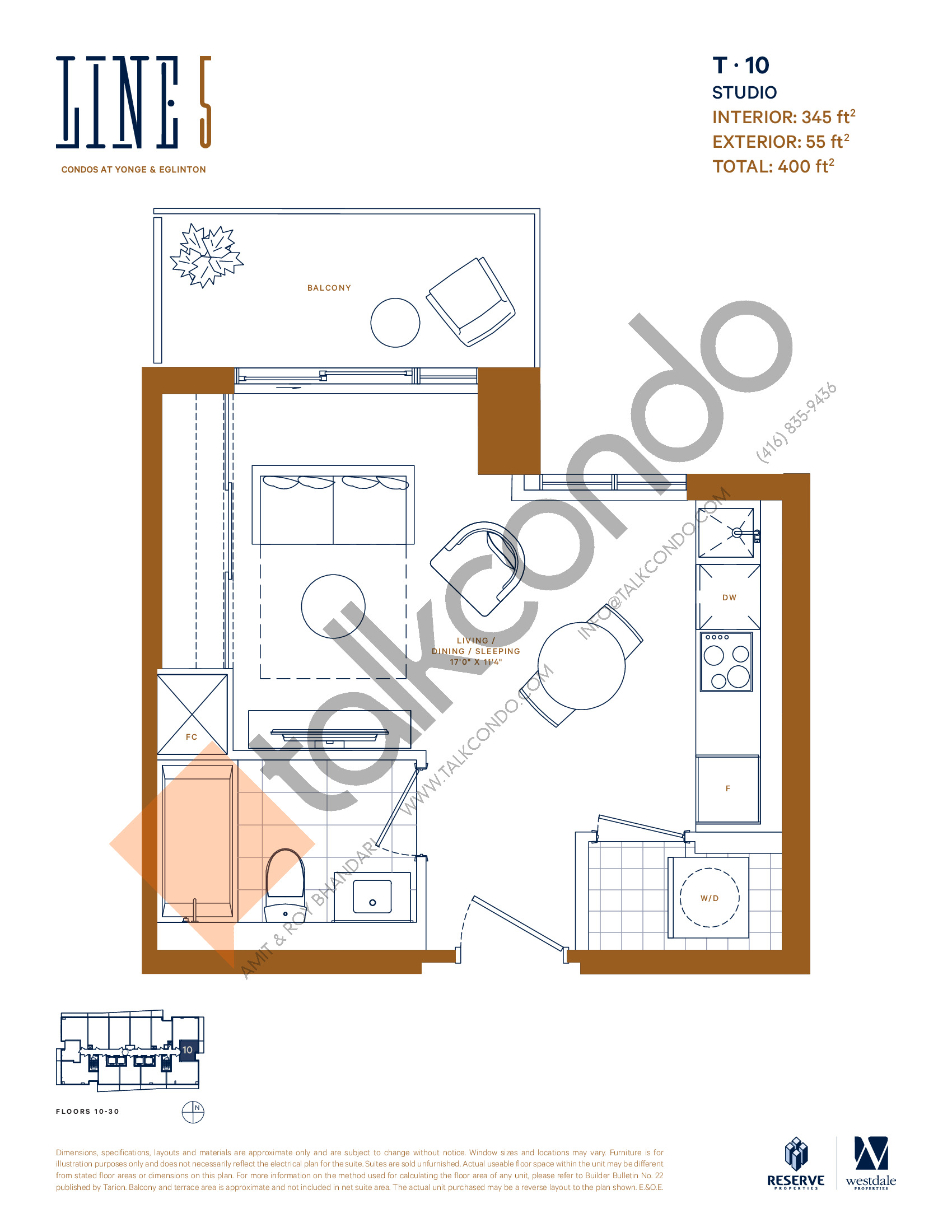 T-10 Floor Plan at Line 5 South Tower Condos - 345 sq.ft