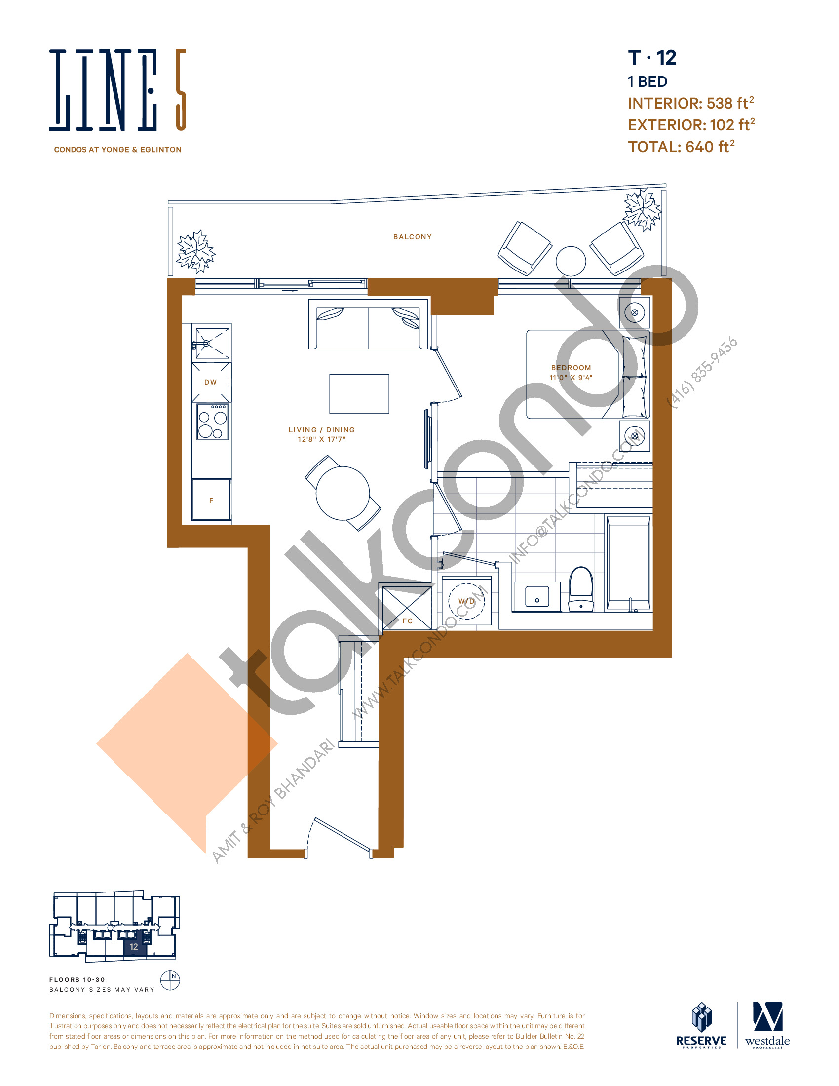 T-12 Floor Plan at Line 5 South Tower Condos - 538 sq.ft