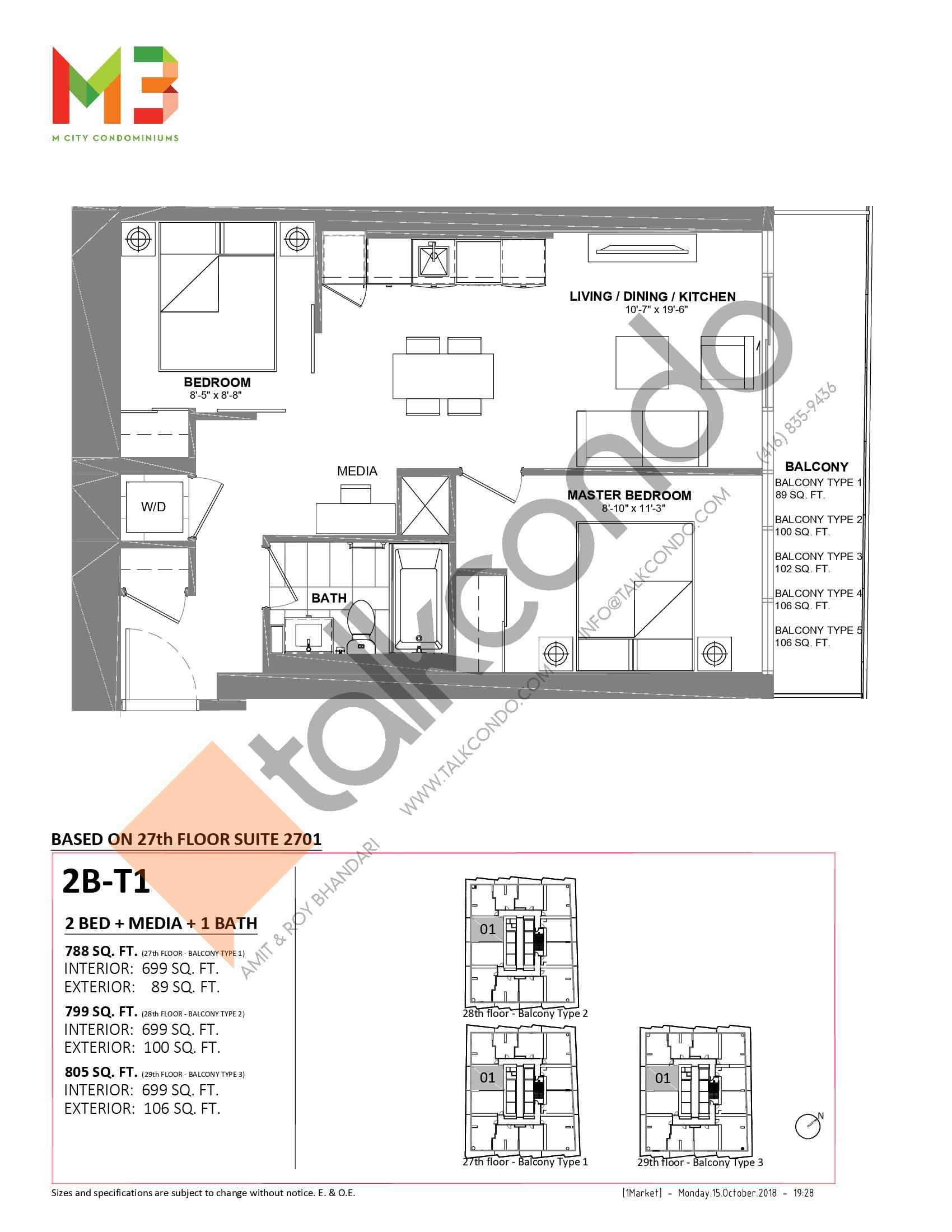 2B-T1 Floor Plan at M3 Condos - 699 sq.ft