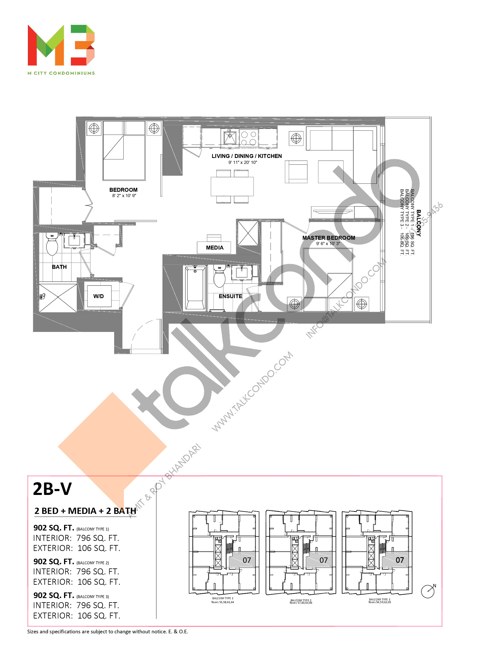 2B-V Floor Plan at M3 Condos - 796 sq.ft