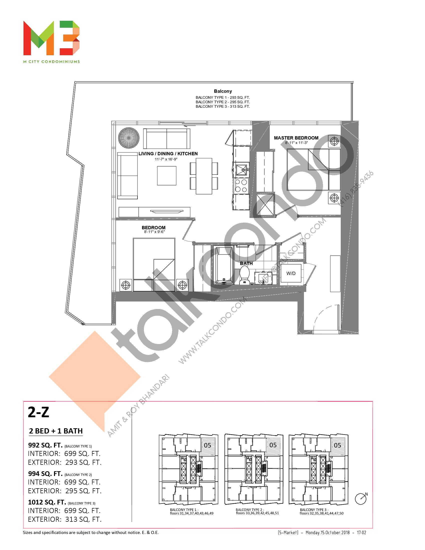2-Z Floor Plan at M3 Condos - 699 sq.ft
