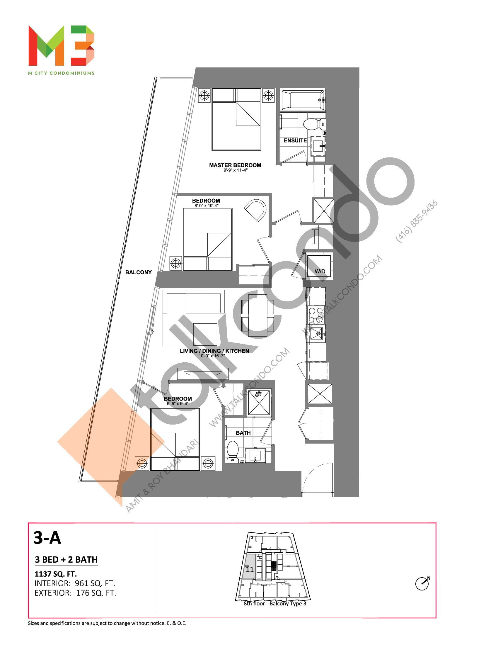 3-A Floor Plan at M3 Condos - 961 sq.ft