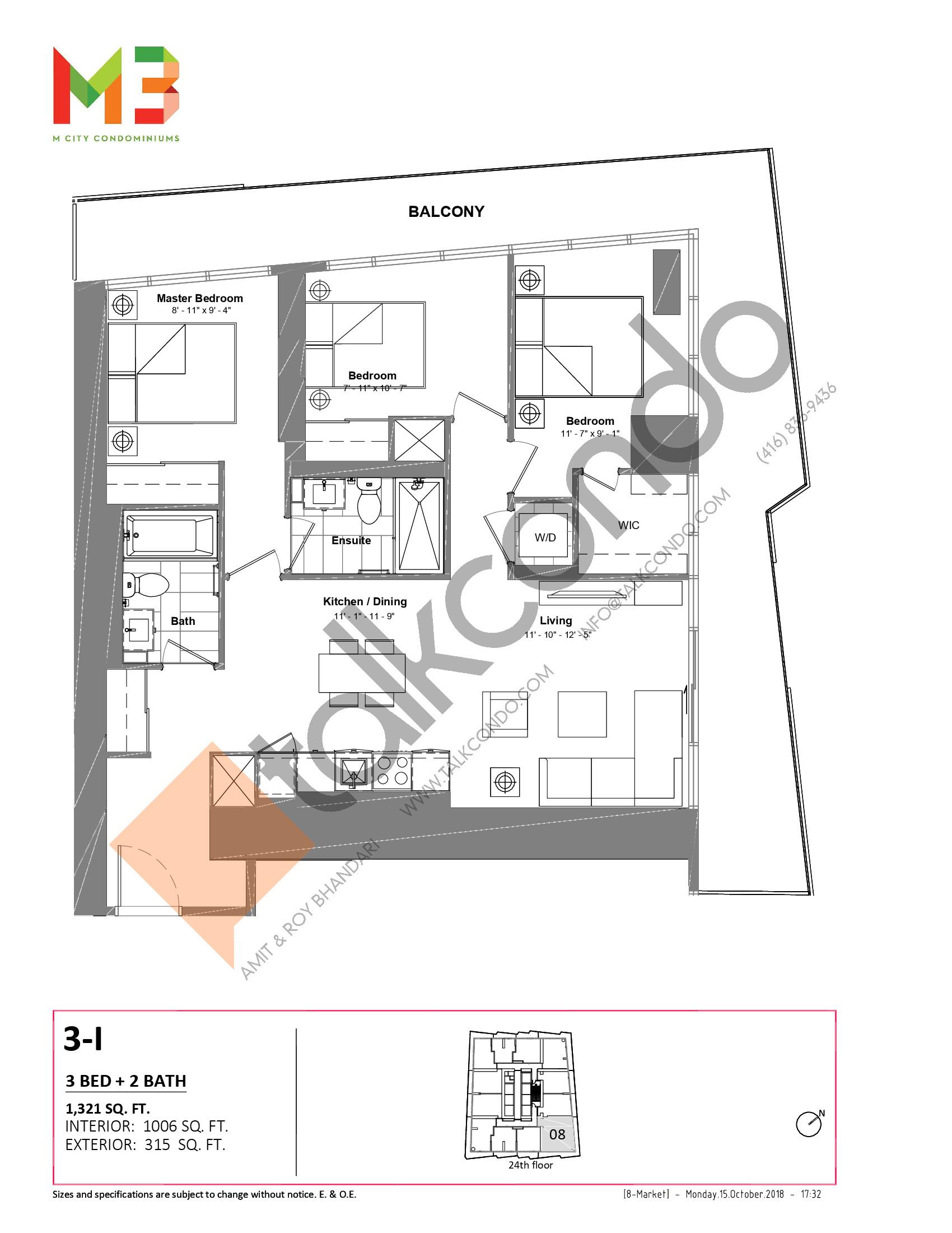 3-I Floor Plan at M3 Condos - 1006 sq.ft