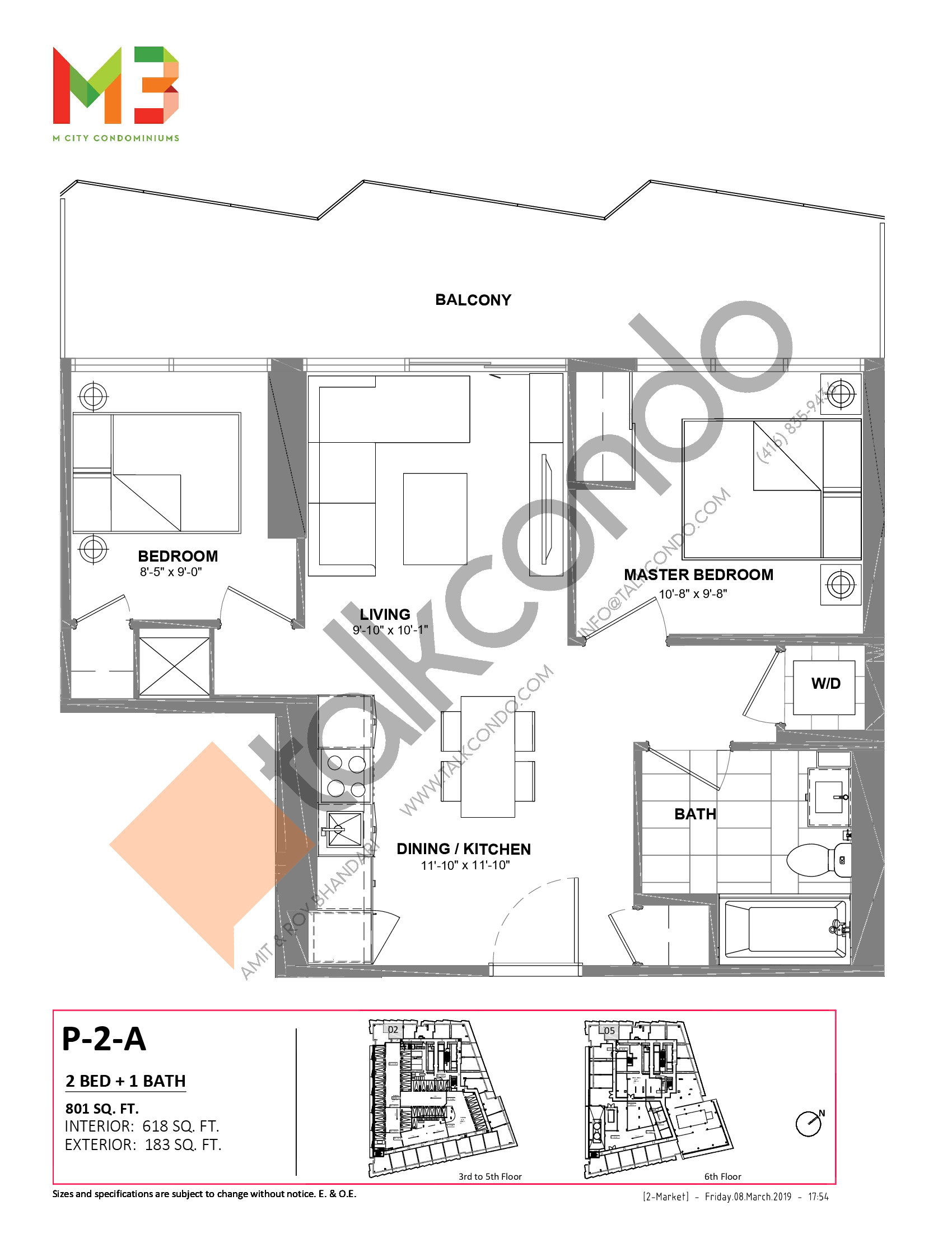P-2-A Floor Plan at M3 Condos - 618 sq.ft