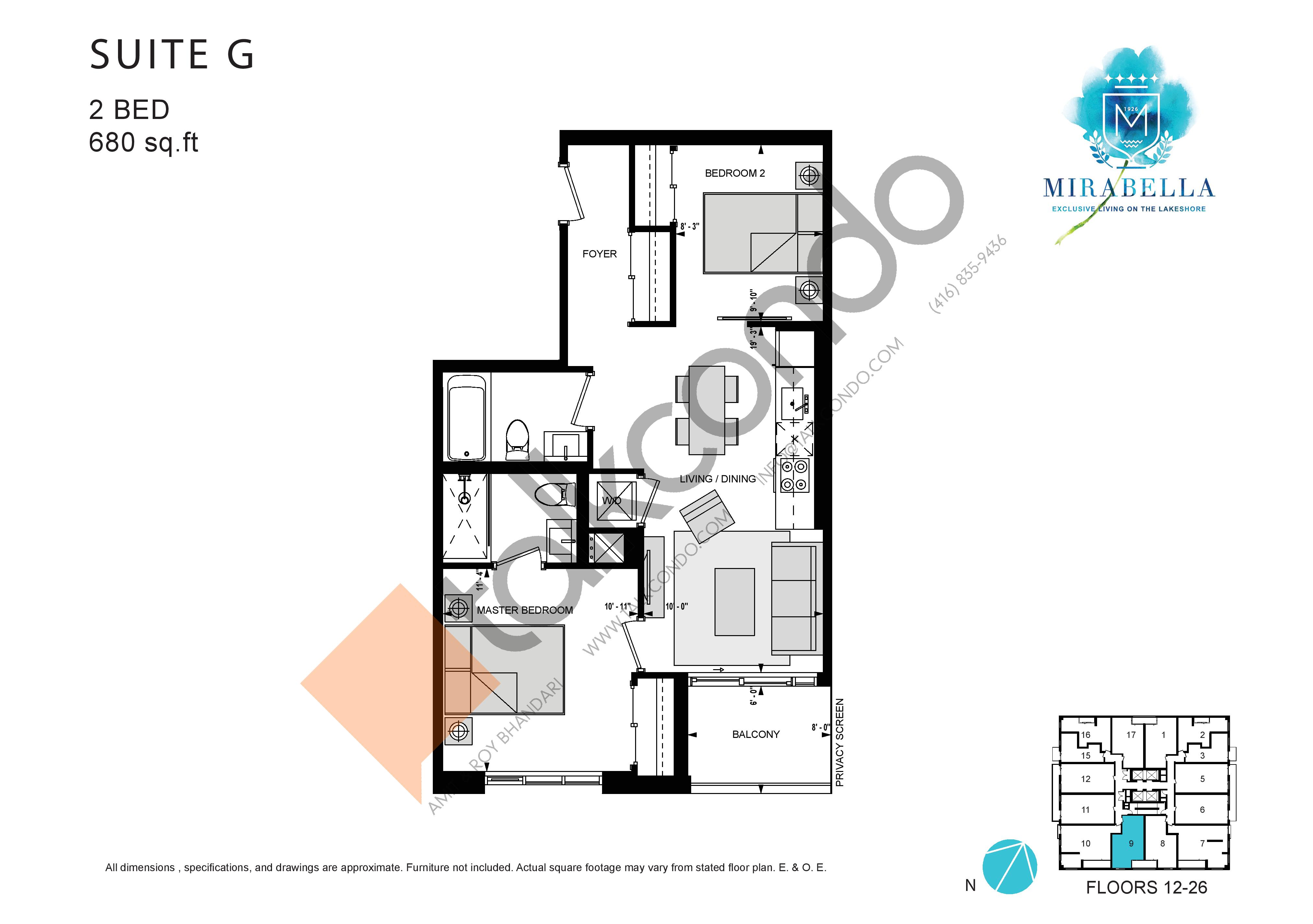 Suite G Floor Plan at Mirabella Luxury Condos East Tower - 680 sq.ft