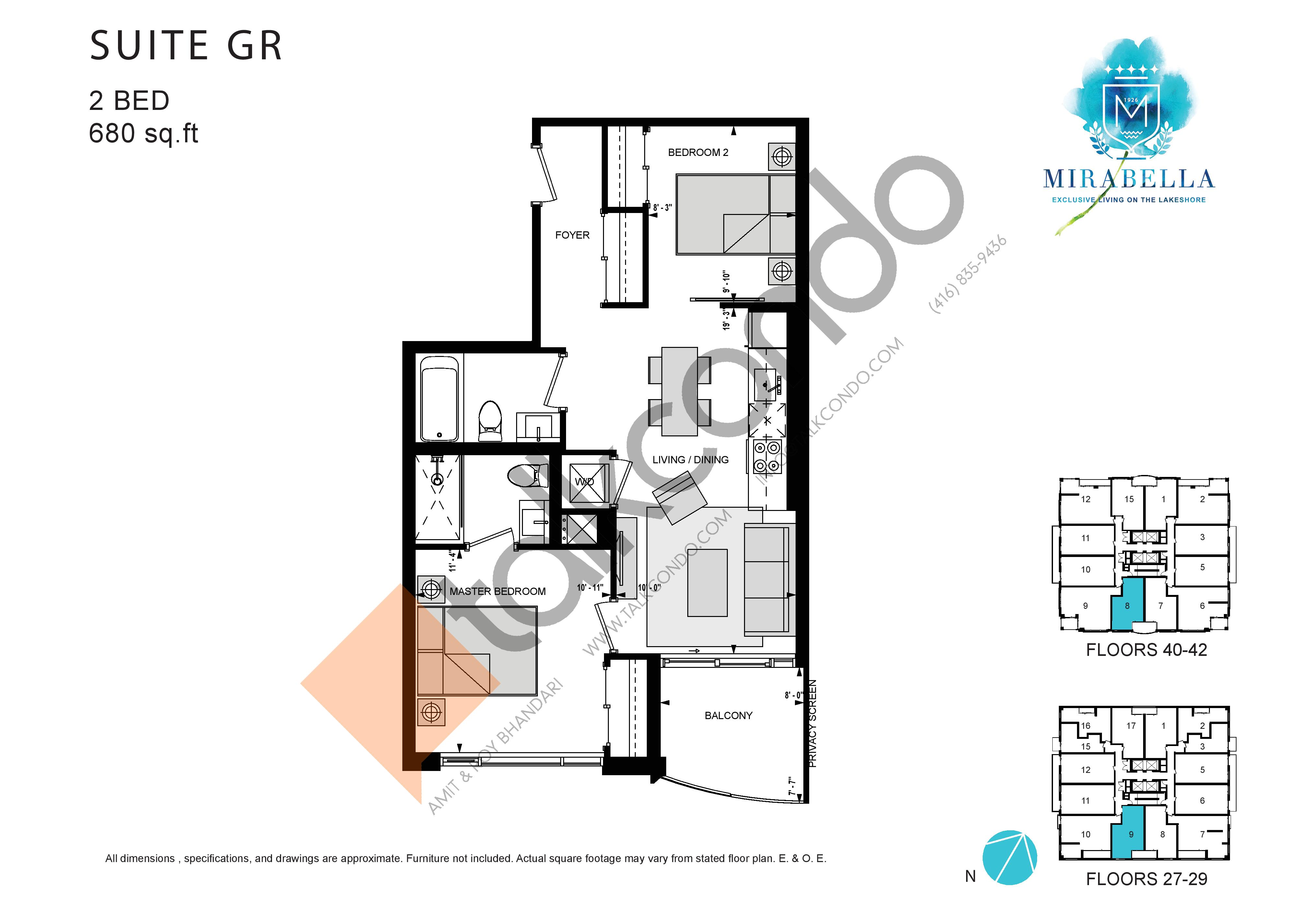 Suite GR Floor Plan at Mirabella Luxury Condos East Tower - 680 sq.ft