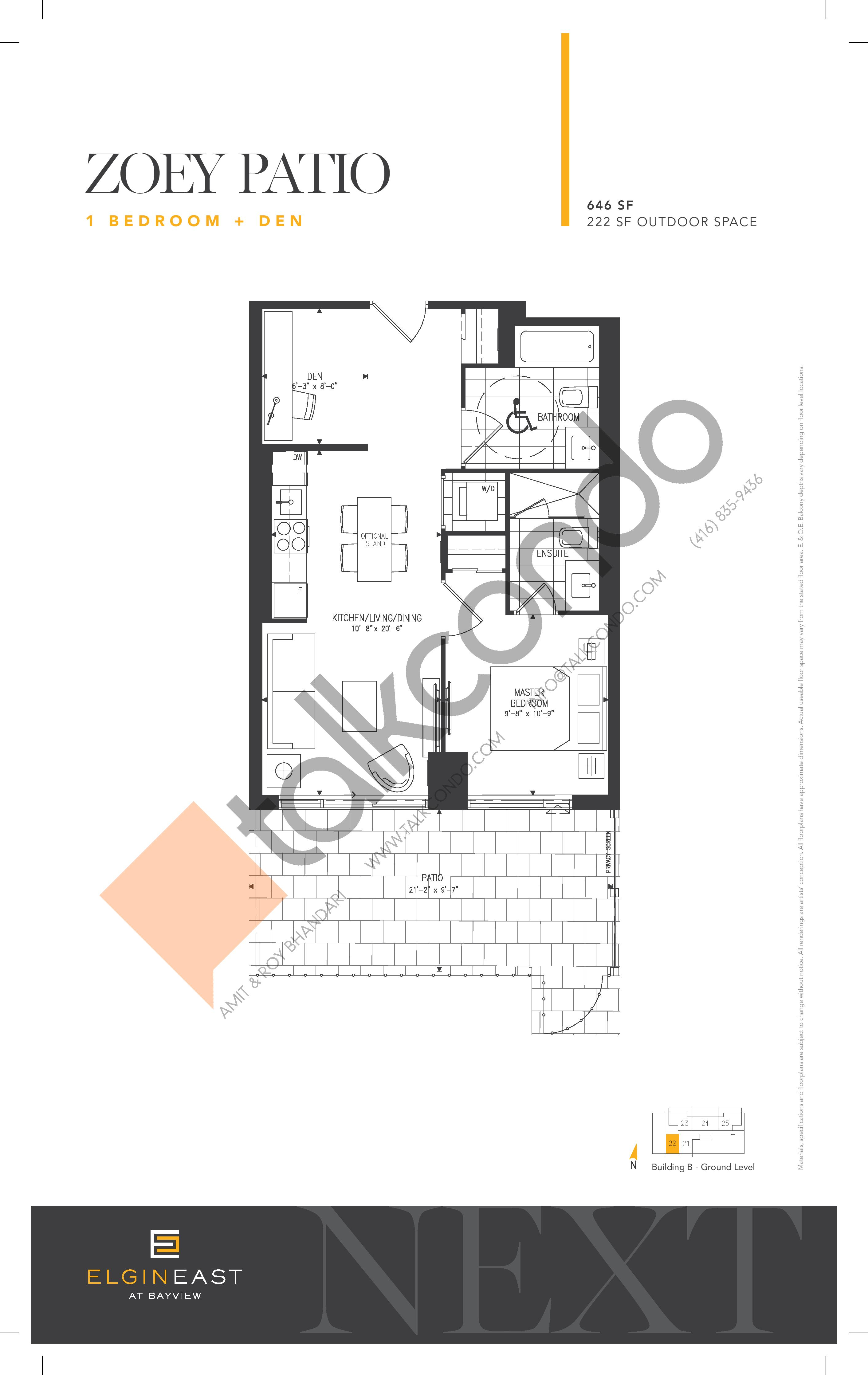 Zoey Patio Floor Plan at NEXT - Elgin East Phase 2 Condos - 646 sq.ft