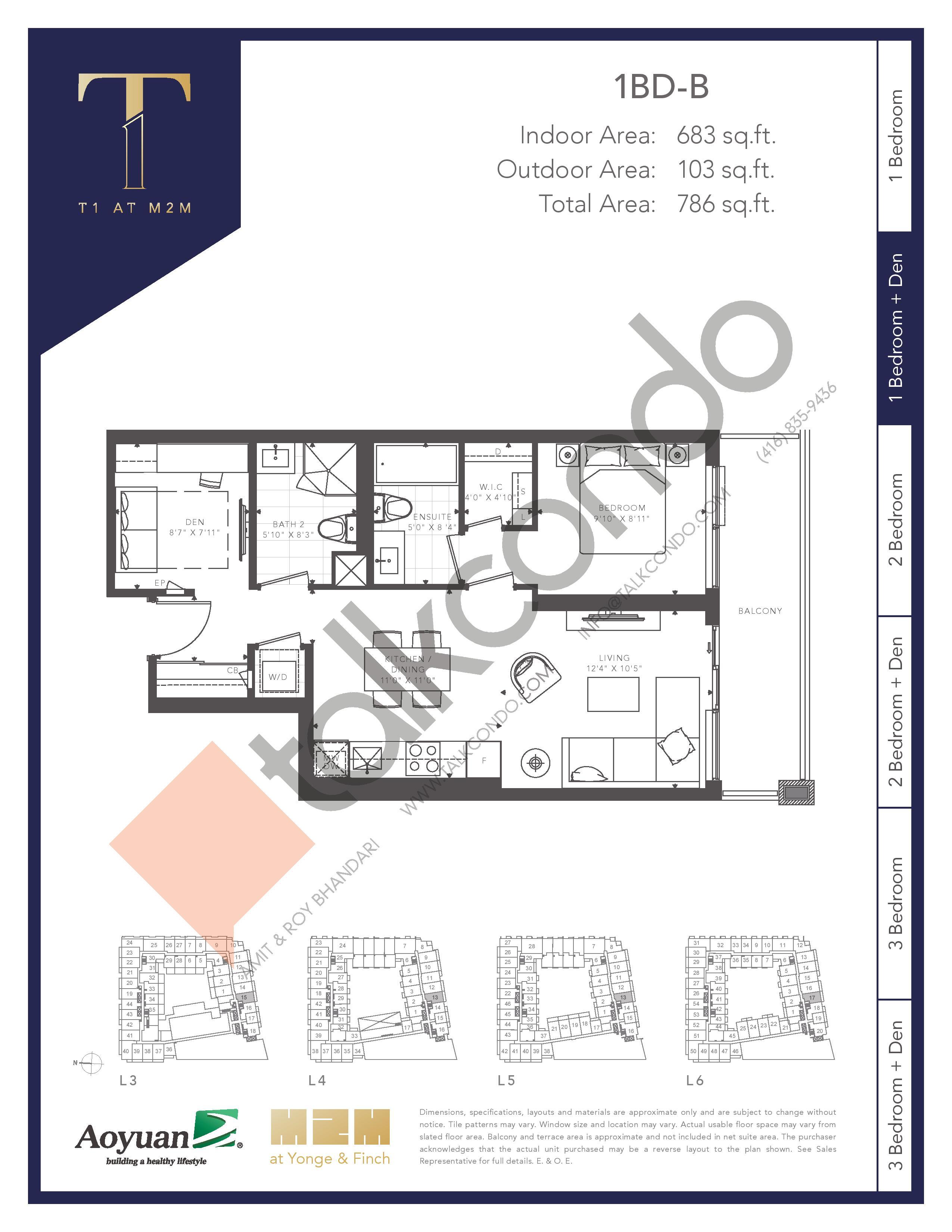 1BD-B (Tower) Floor Plan at T1 at M2M Condos - 683 sq.ft