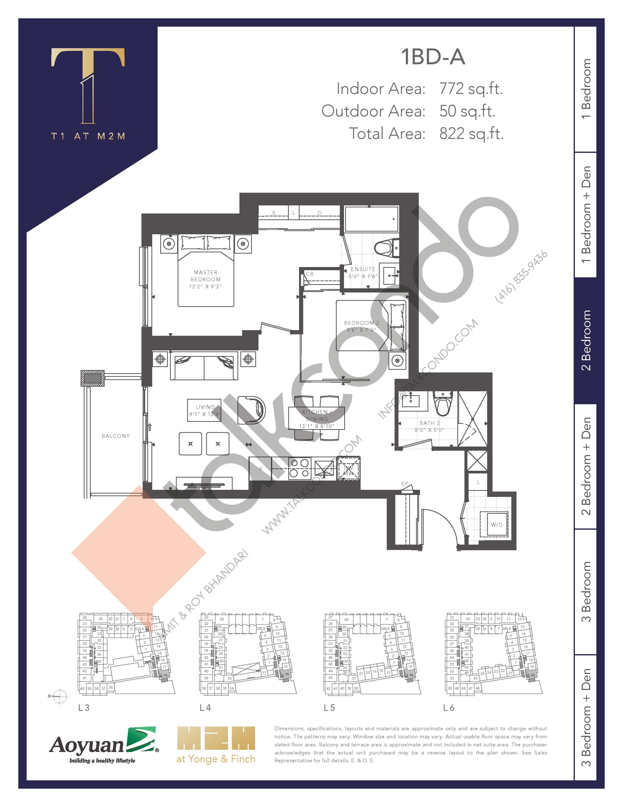 1BD-A (Tower) Floor Plan at T1 at M2M Condos - 772 sq.ft