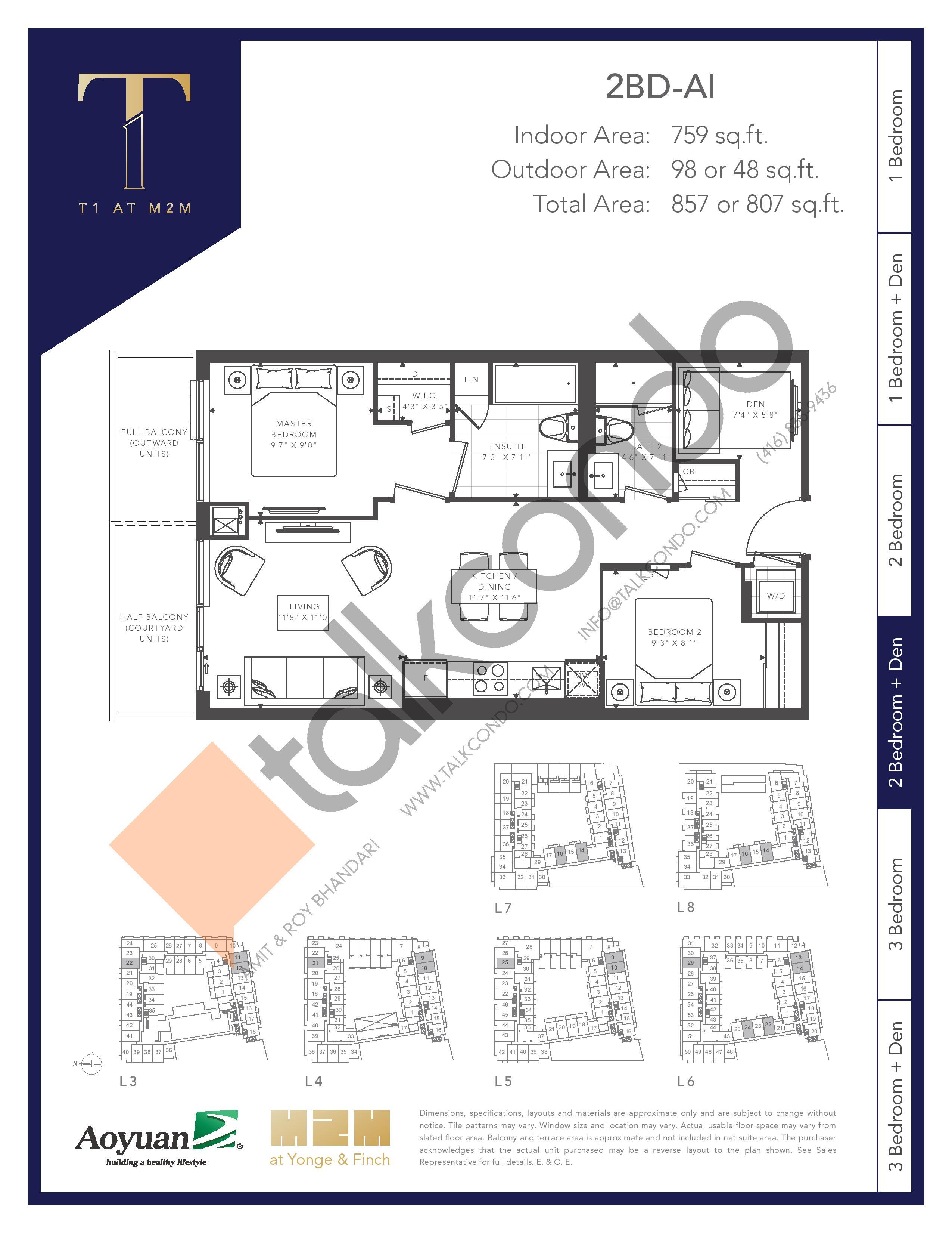 2BD-AI (Tower) Floor Plan at T1 at M2M Condos - 759 sq.ft