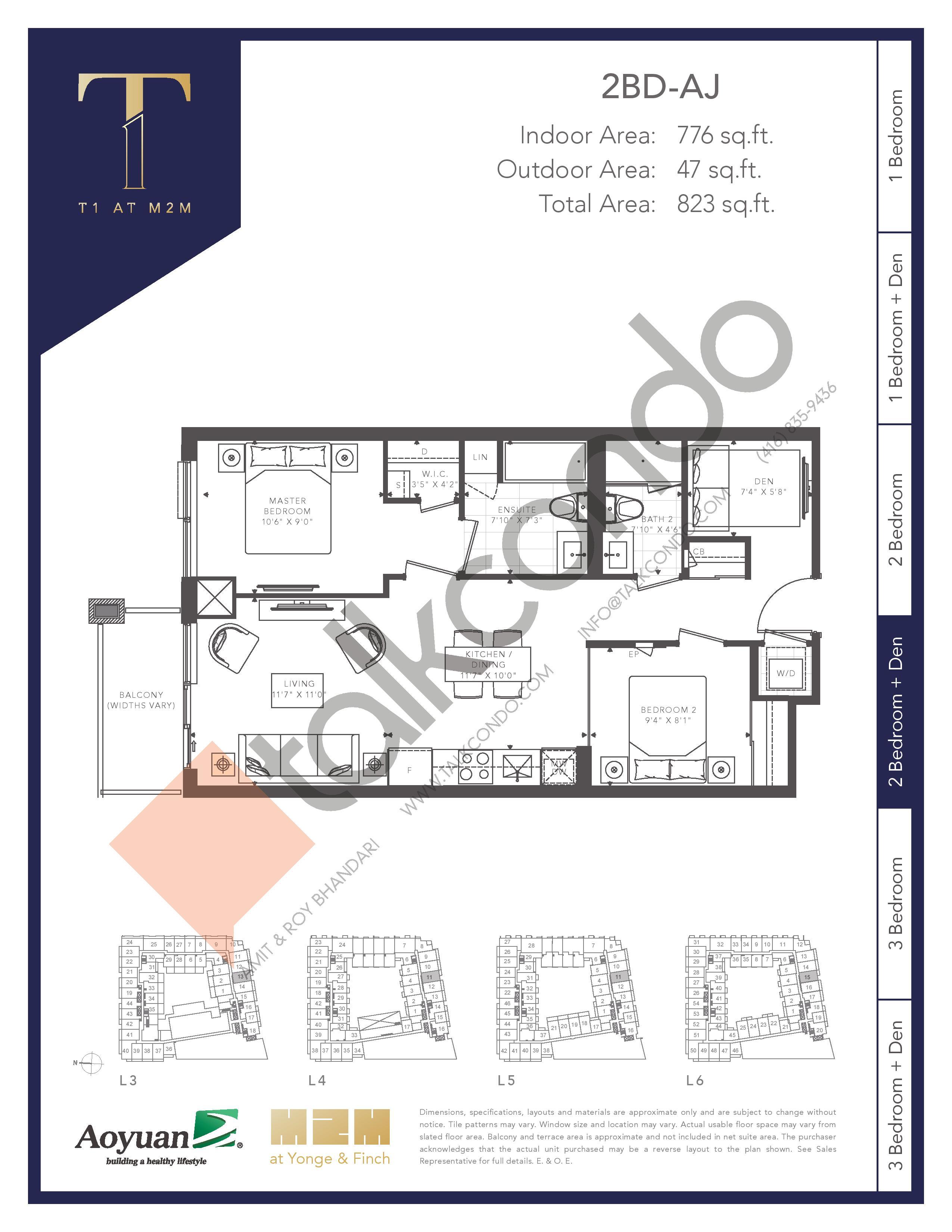 2BD-AJ (Tower) Floor Plan at T1 at M2M Condos - 776 sq.ft
