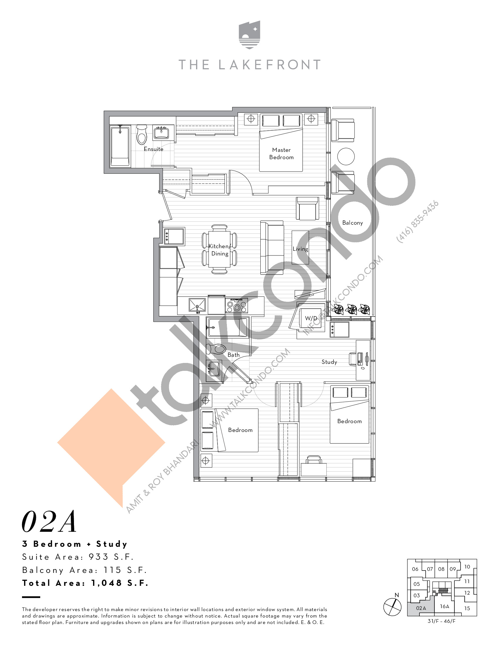 02A Floor Plan at The Lakefront Condos - 933 sq.ft