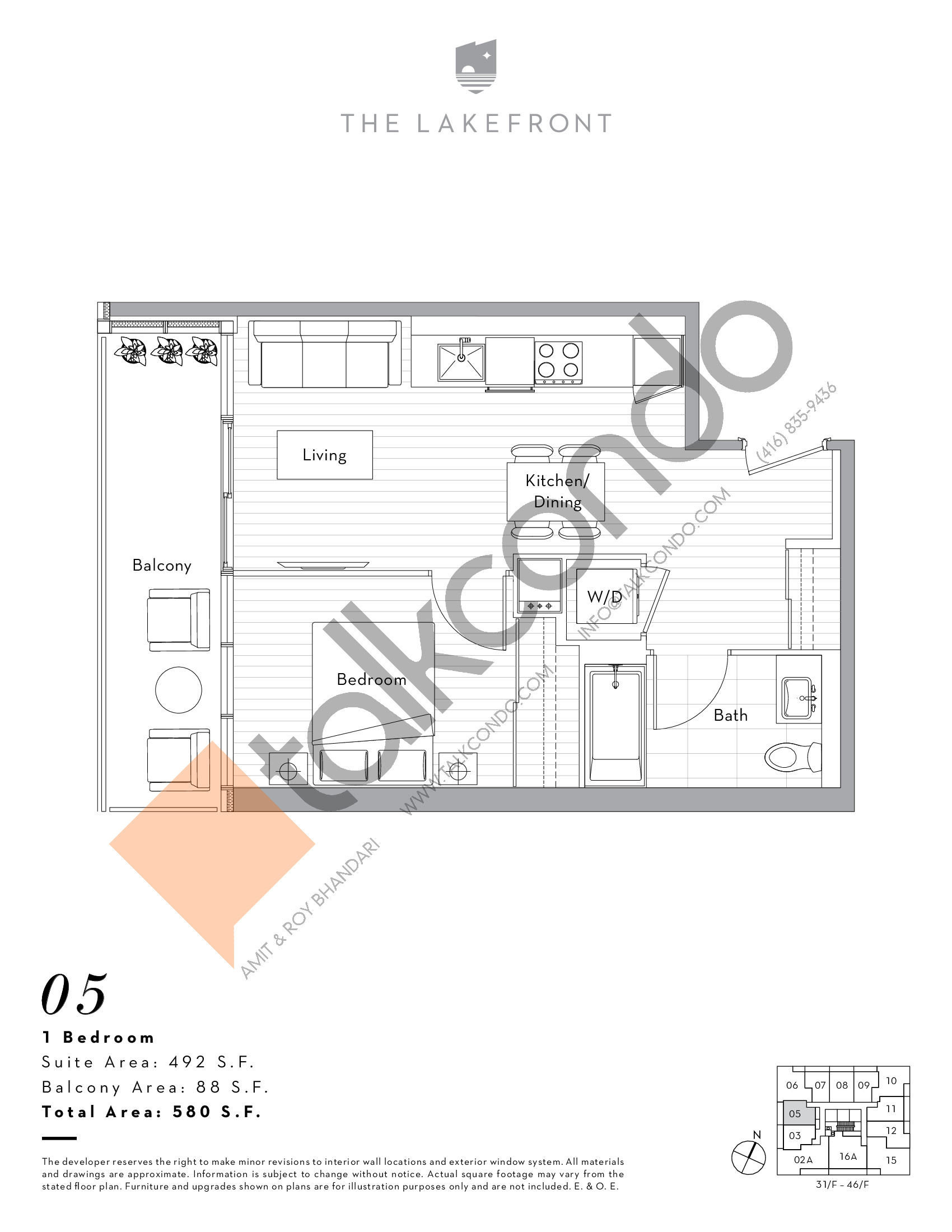 05 Floor Plan at The Lakefront Condos - 492 sq.ft