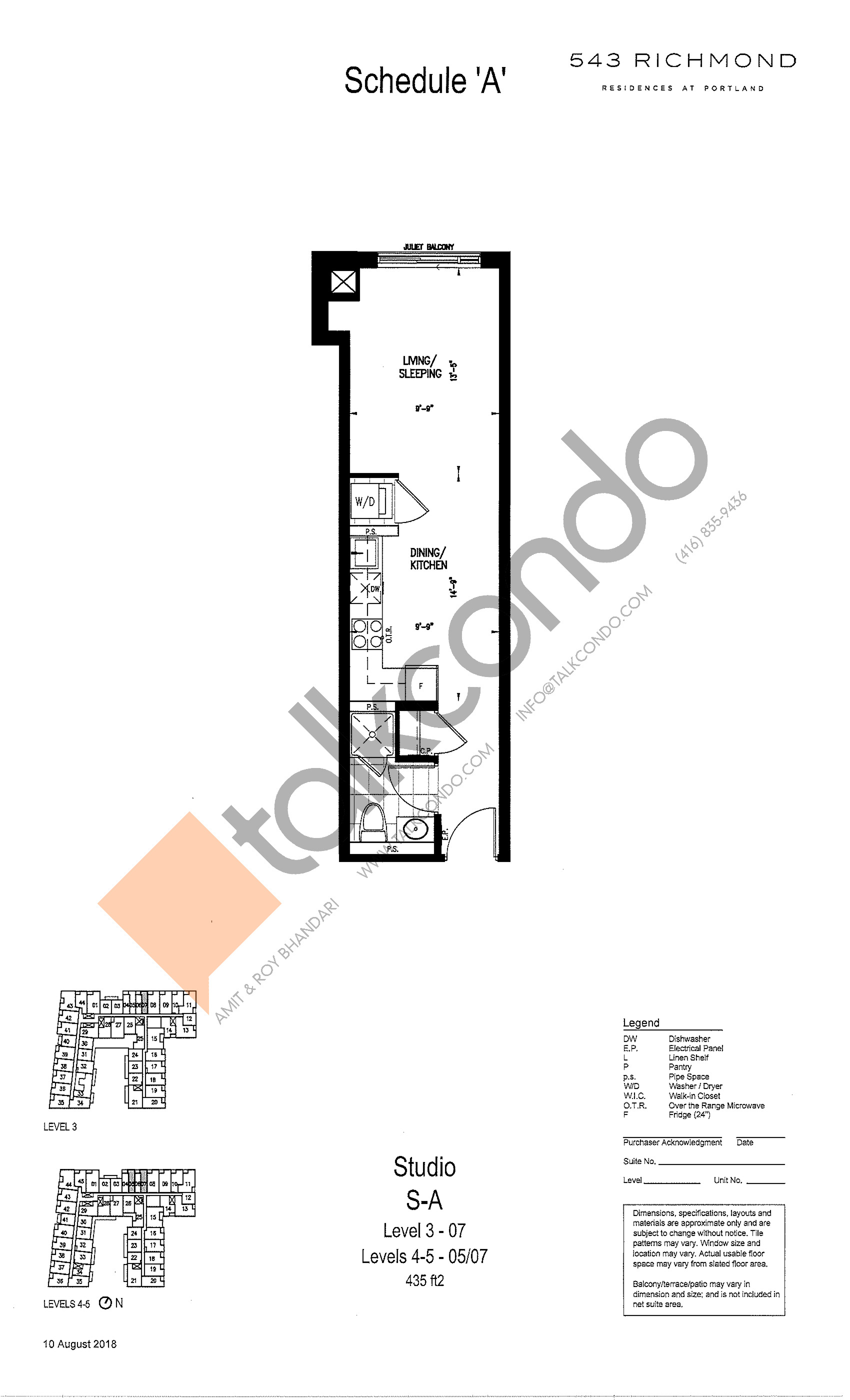 S-A Floor Plan at 543 Richmond St Condos - 435 sq.ft