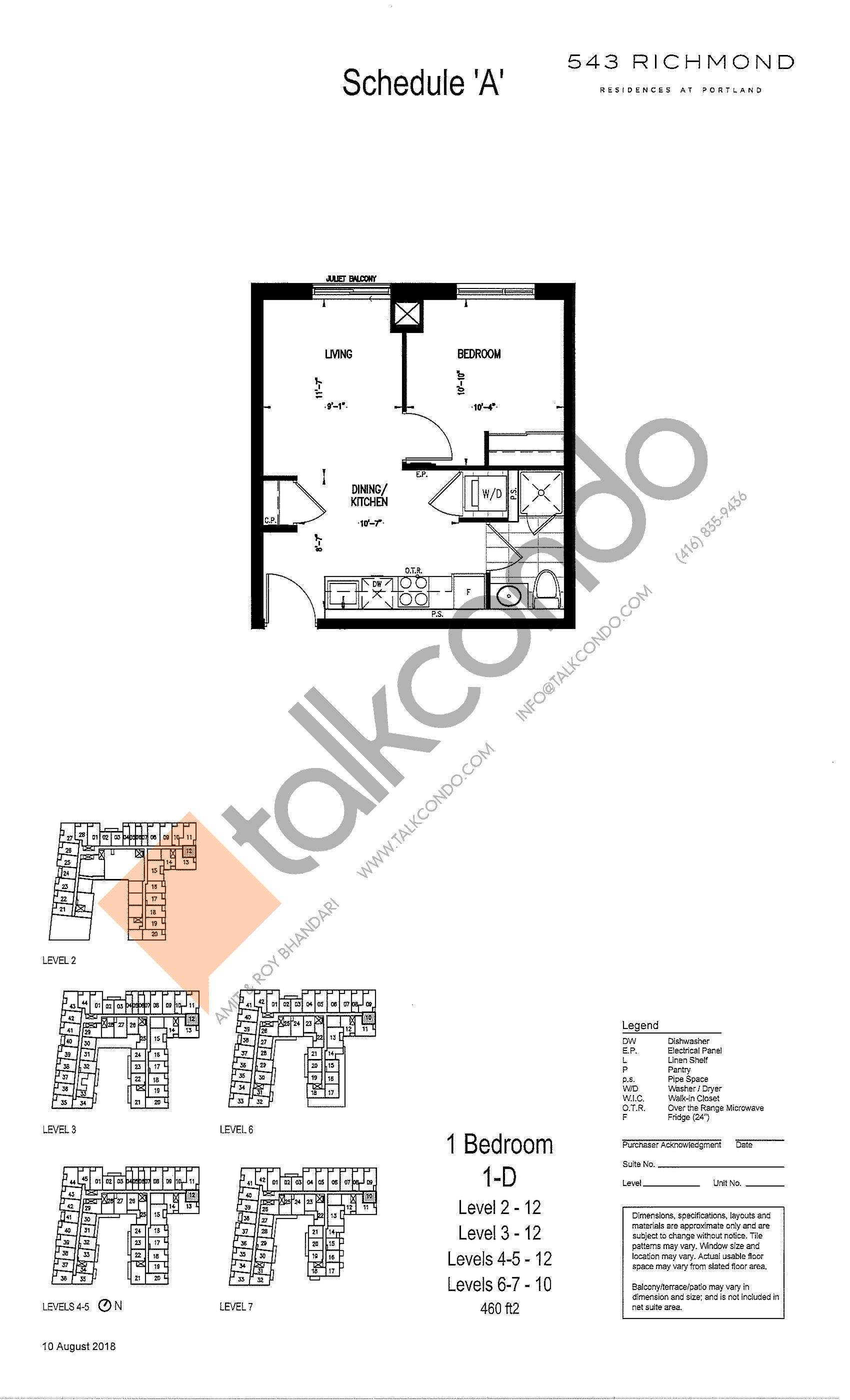1-D Floor Plan at 543 Richmond St Condos - 460 sq.ft