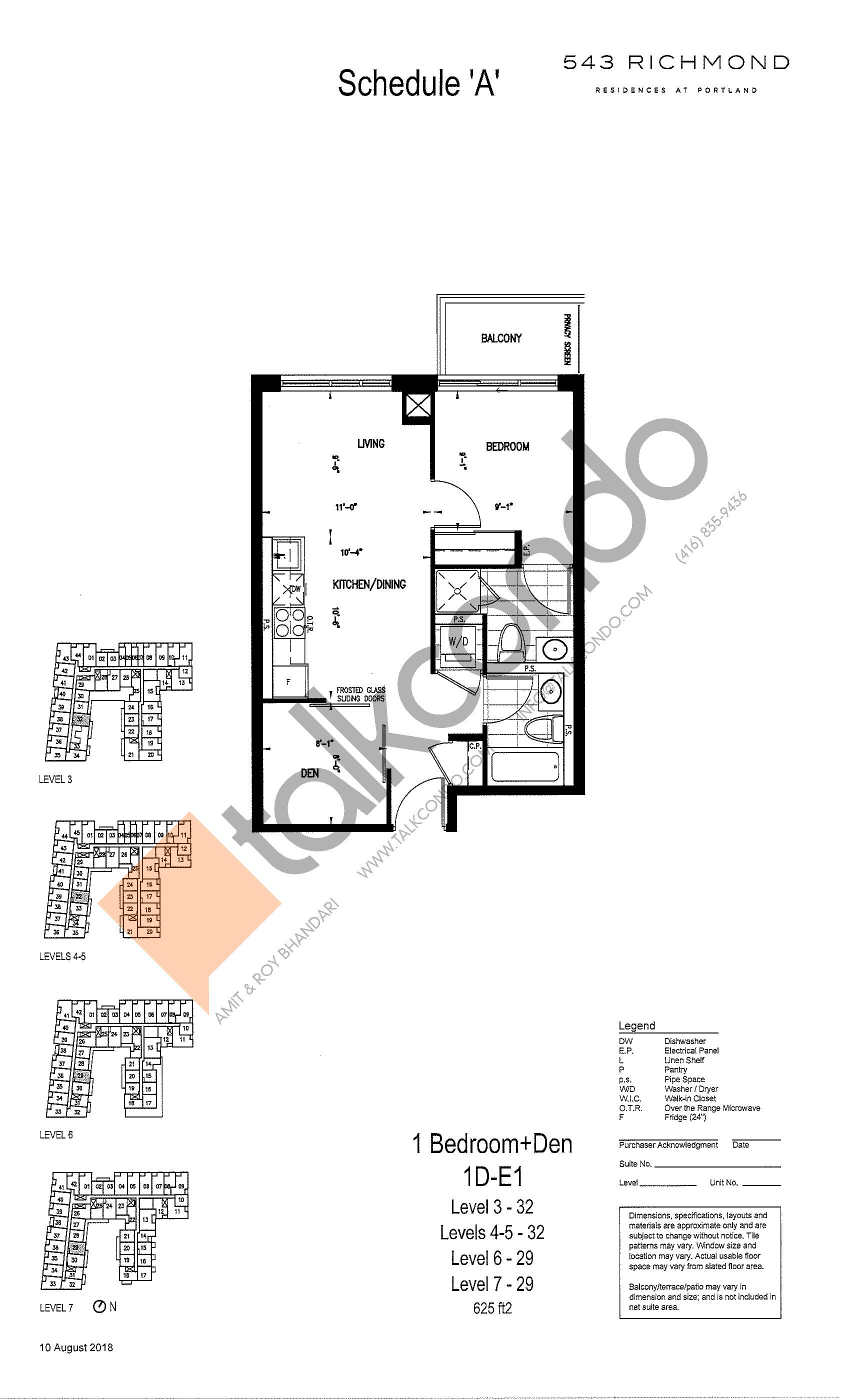 1D-E1 Floor Plan at 543 Richmond St Condos - 625 sq.ft