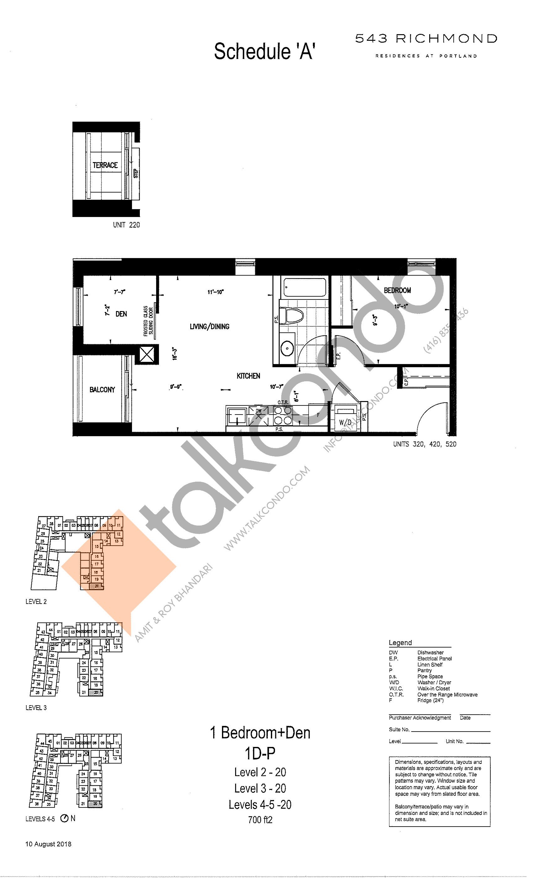 1D-P Floor Plan at 543 Richmond St Condos - 700 sq.ft