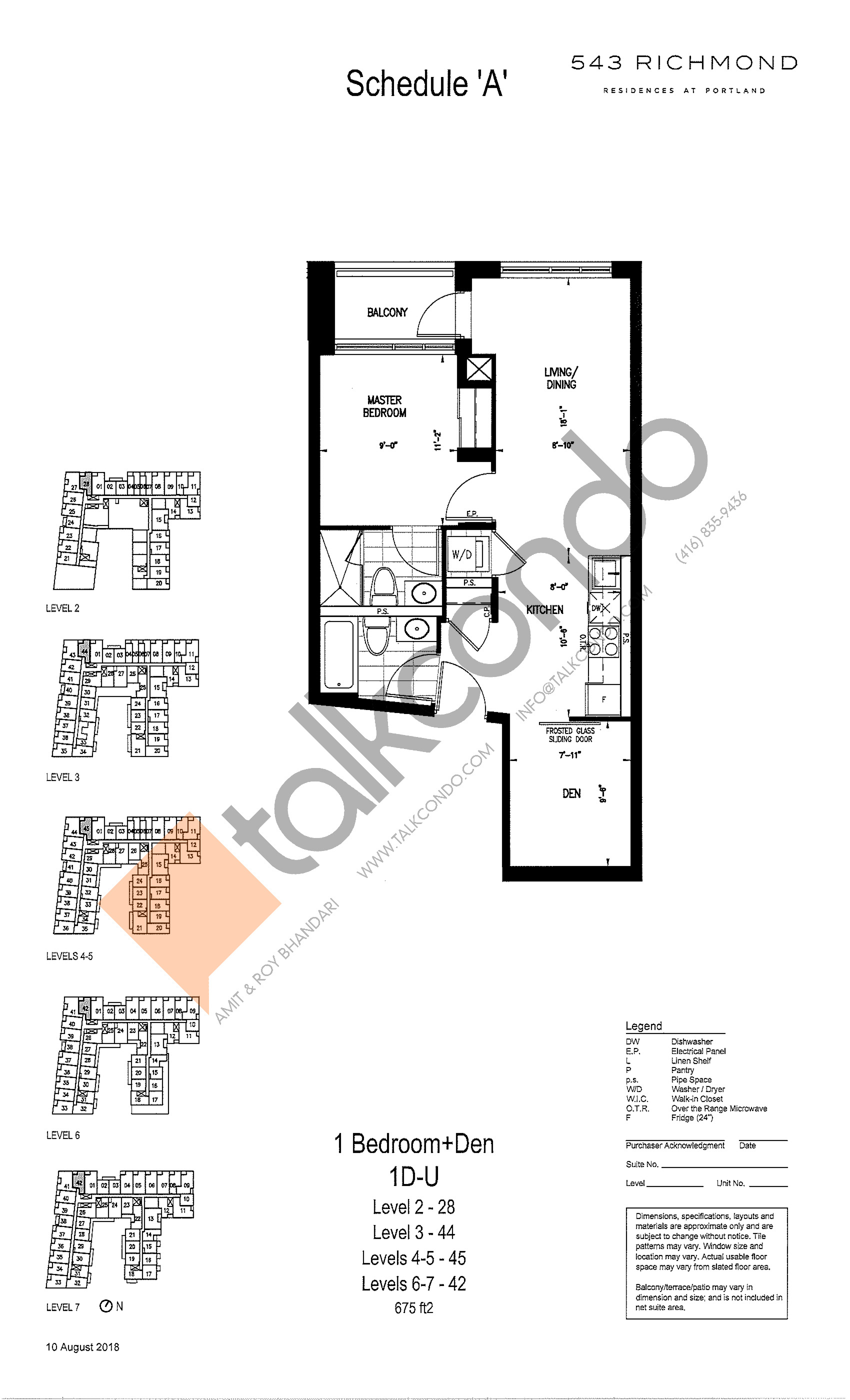1D-U Floor Plan at 543 Richmond St Condos - 675 sq.ft