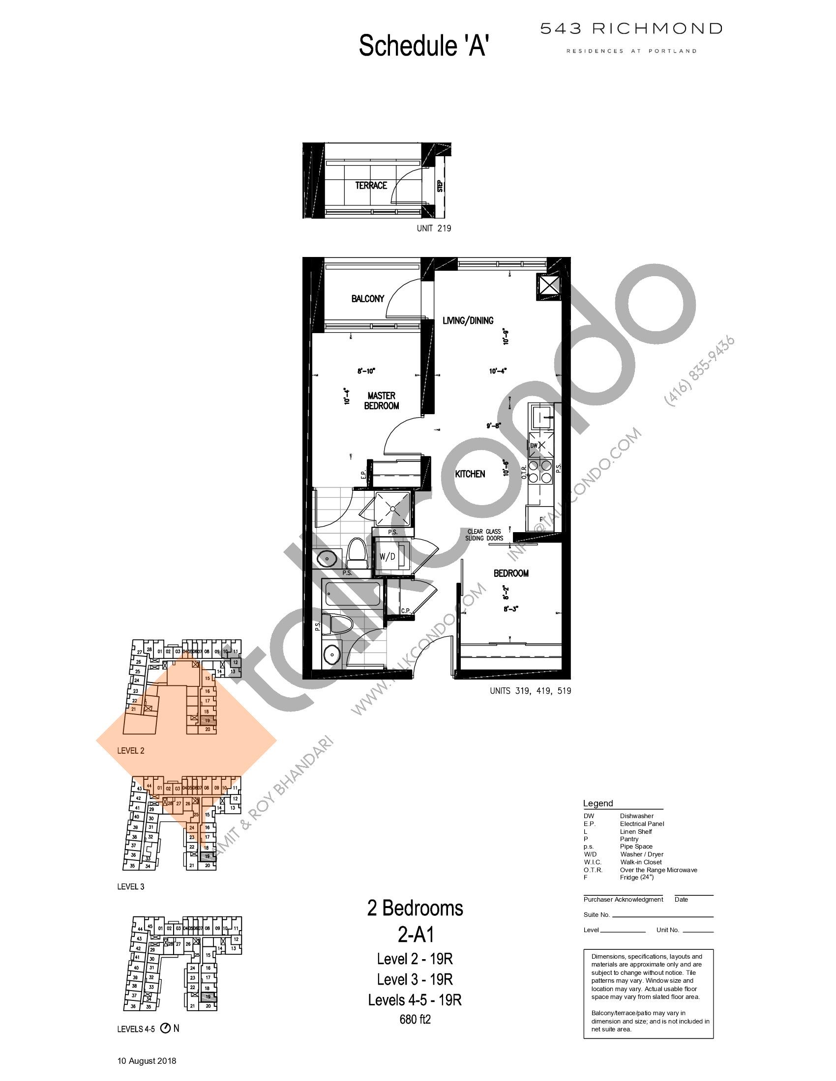 2-A1 Floor Plan at 543 Richmond St Condos - 680 sq.ft