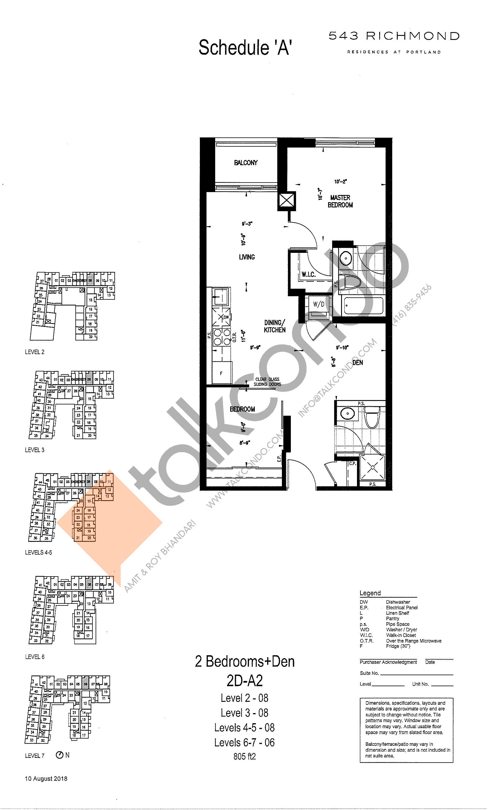 2D-A2 Floor Plan at 543 Richmond St Condos - 805 sq.ft