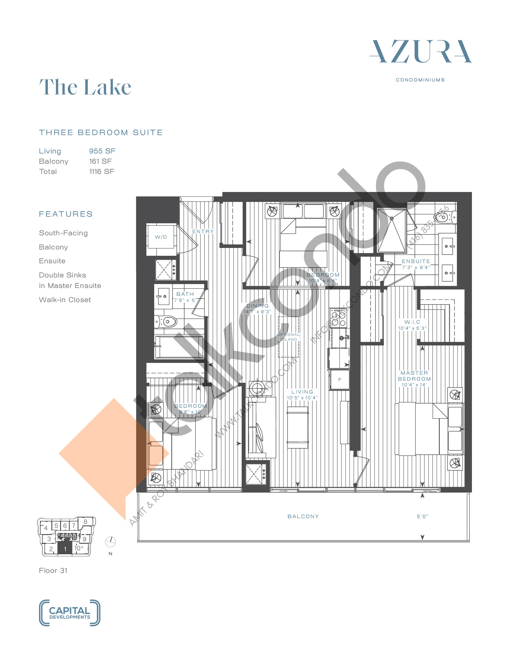 The Lake (Terrace) Floor Plan at Azura Condos - 955 sq.ft