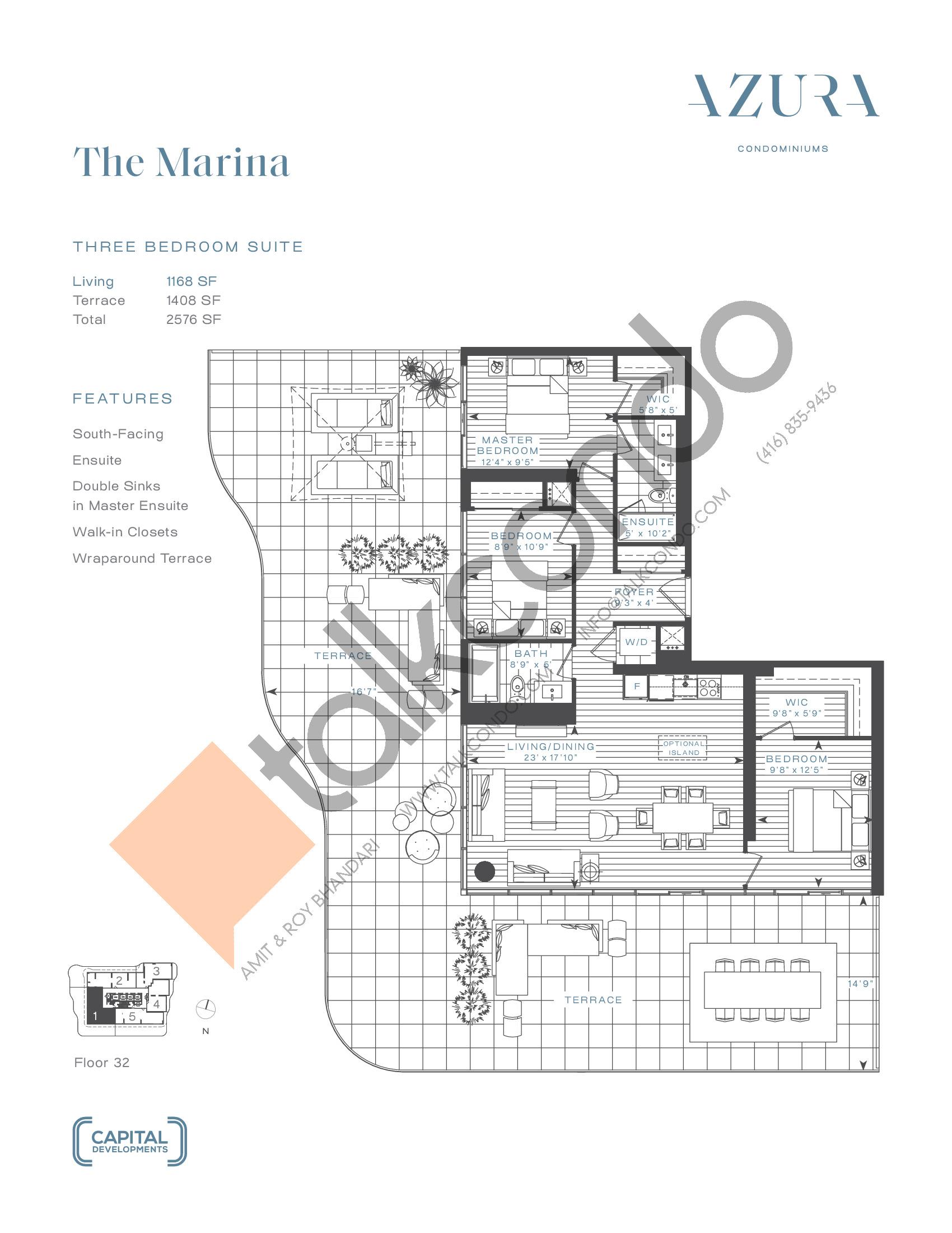 The Marina (Penthouse) Floor Plan at Azura Condos - 1168 sq.ft