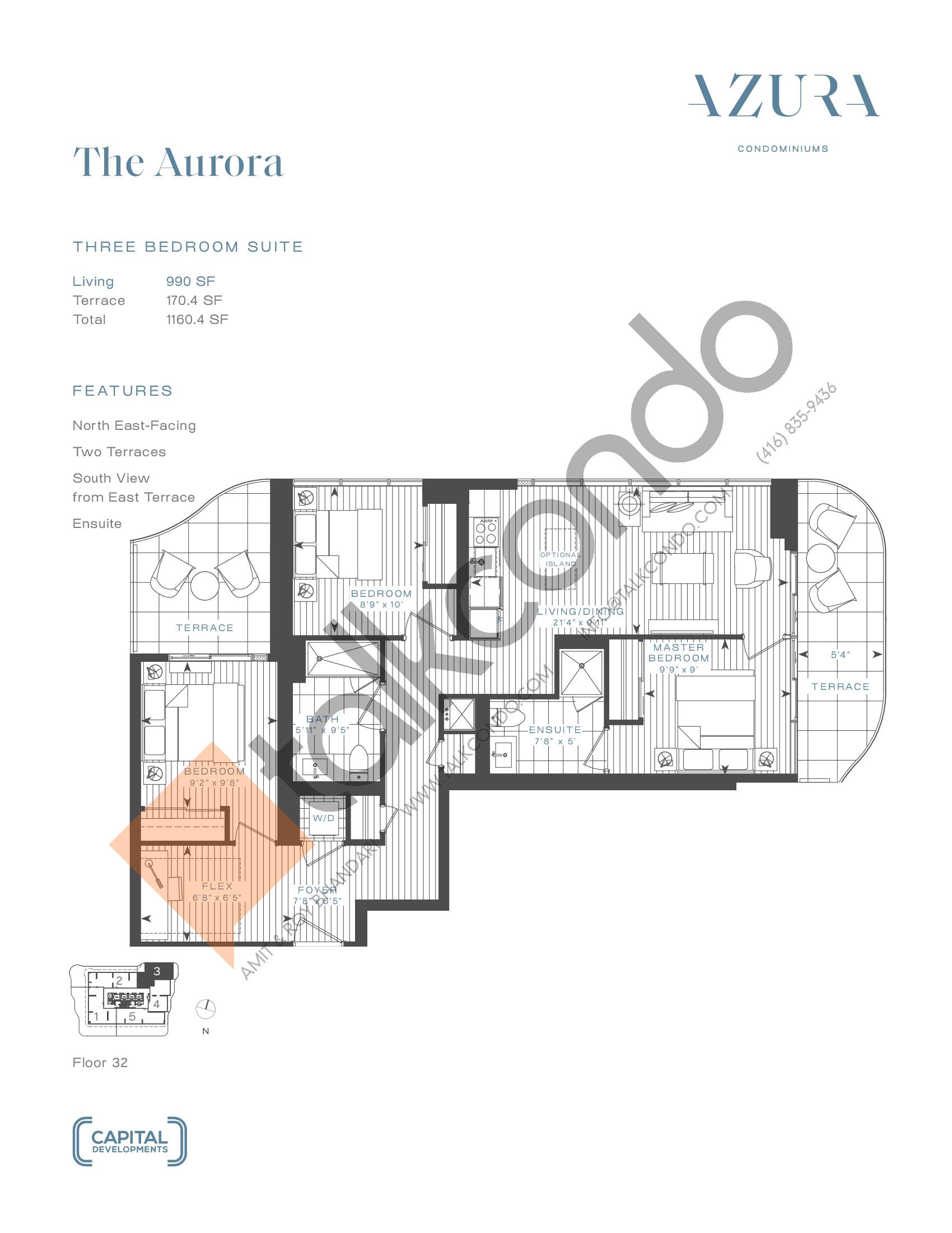 The Aurora (Penthouse) Floor Plan at Azura Condos - 990 sq.ft
