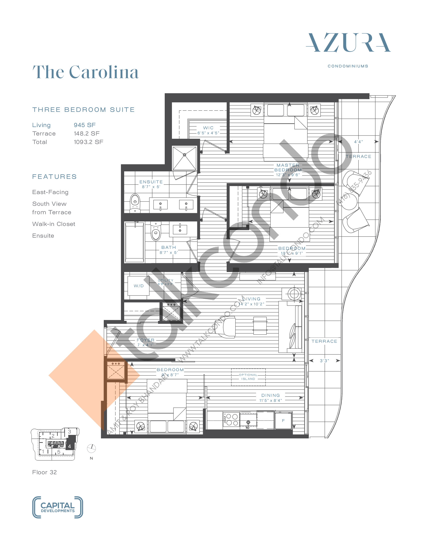 The Carolina (Penthouse) Floor Plan at Azura Condos - 945 sq.ft