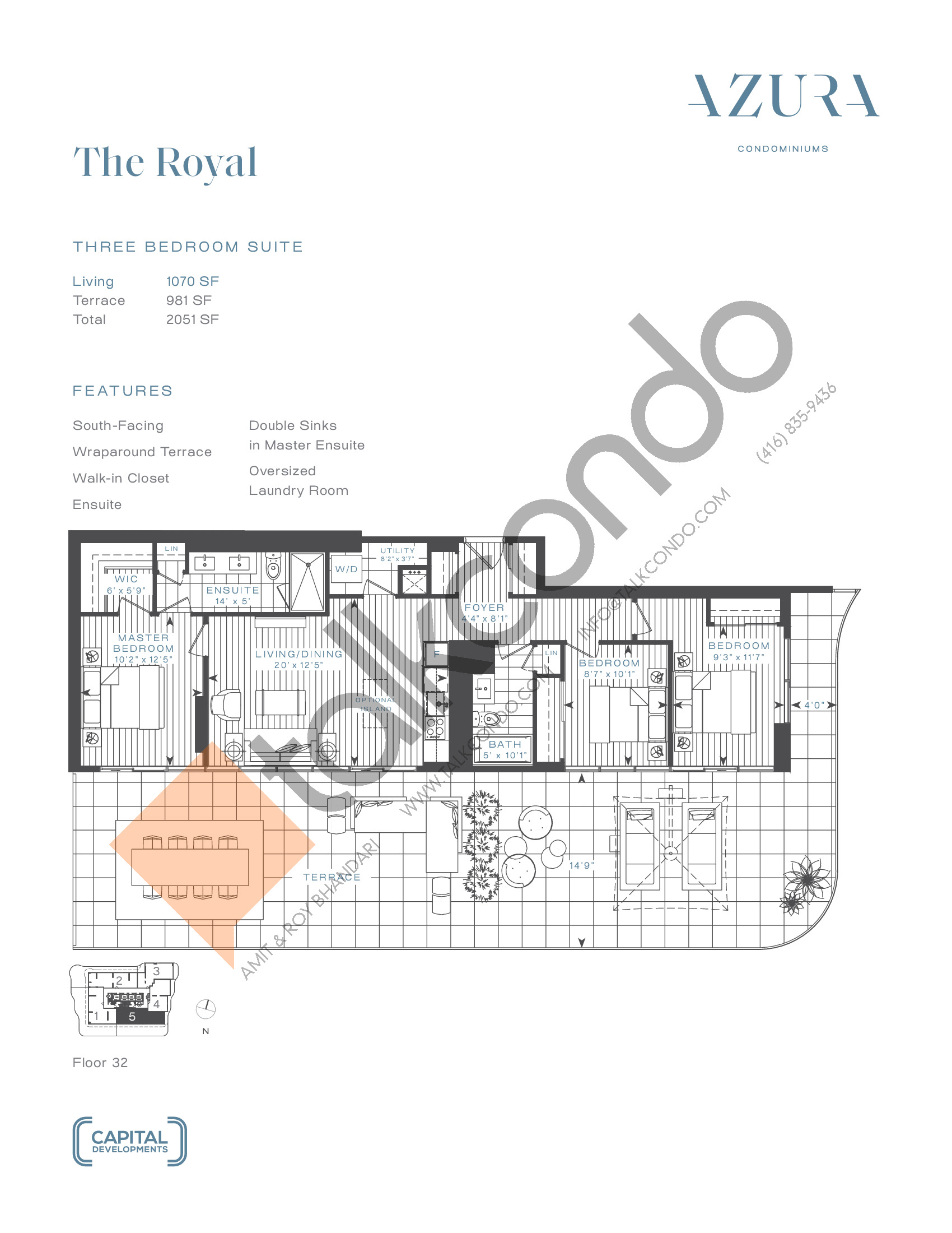 The Royal (Penthouse) Floor Plan at Azura Condos - 1070 sq.ft