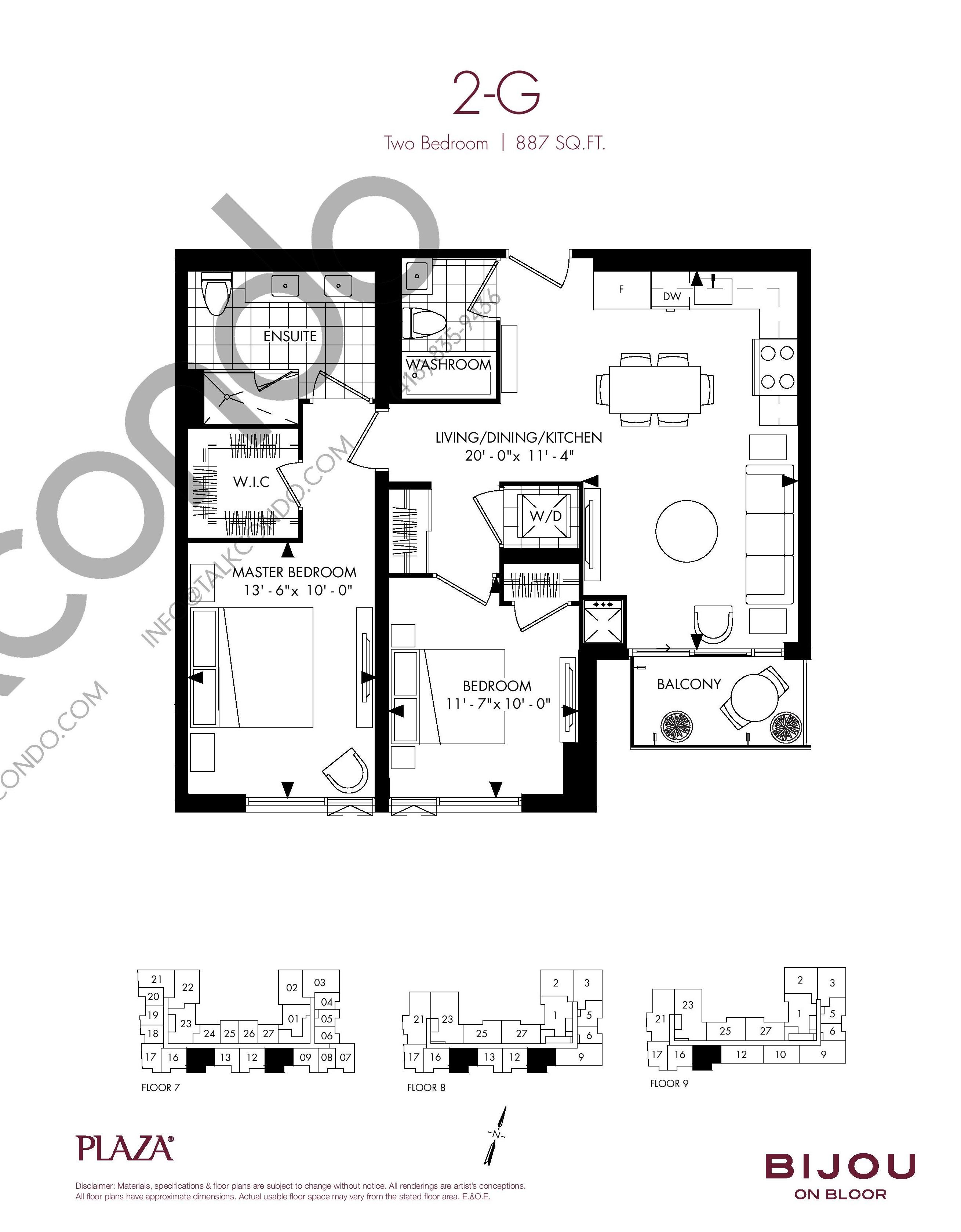 2-G Floor Plan at Bijou On Bloor Condos - 887 sq.ft