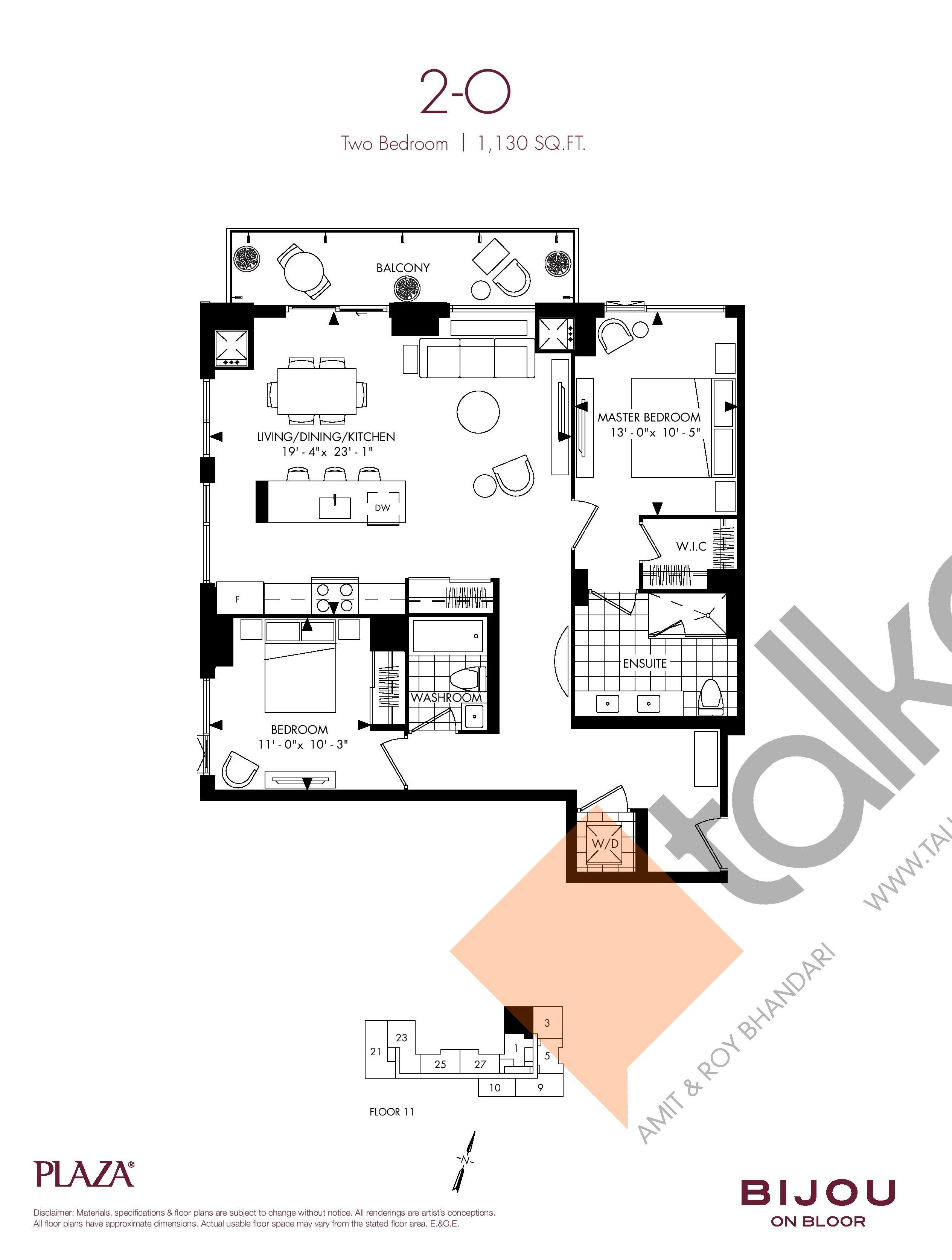 Suite 2-O Floor Plan at Bijou On Bloor Condos - 1130 sq.ft