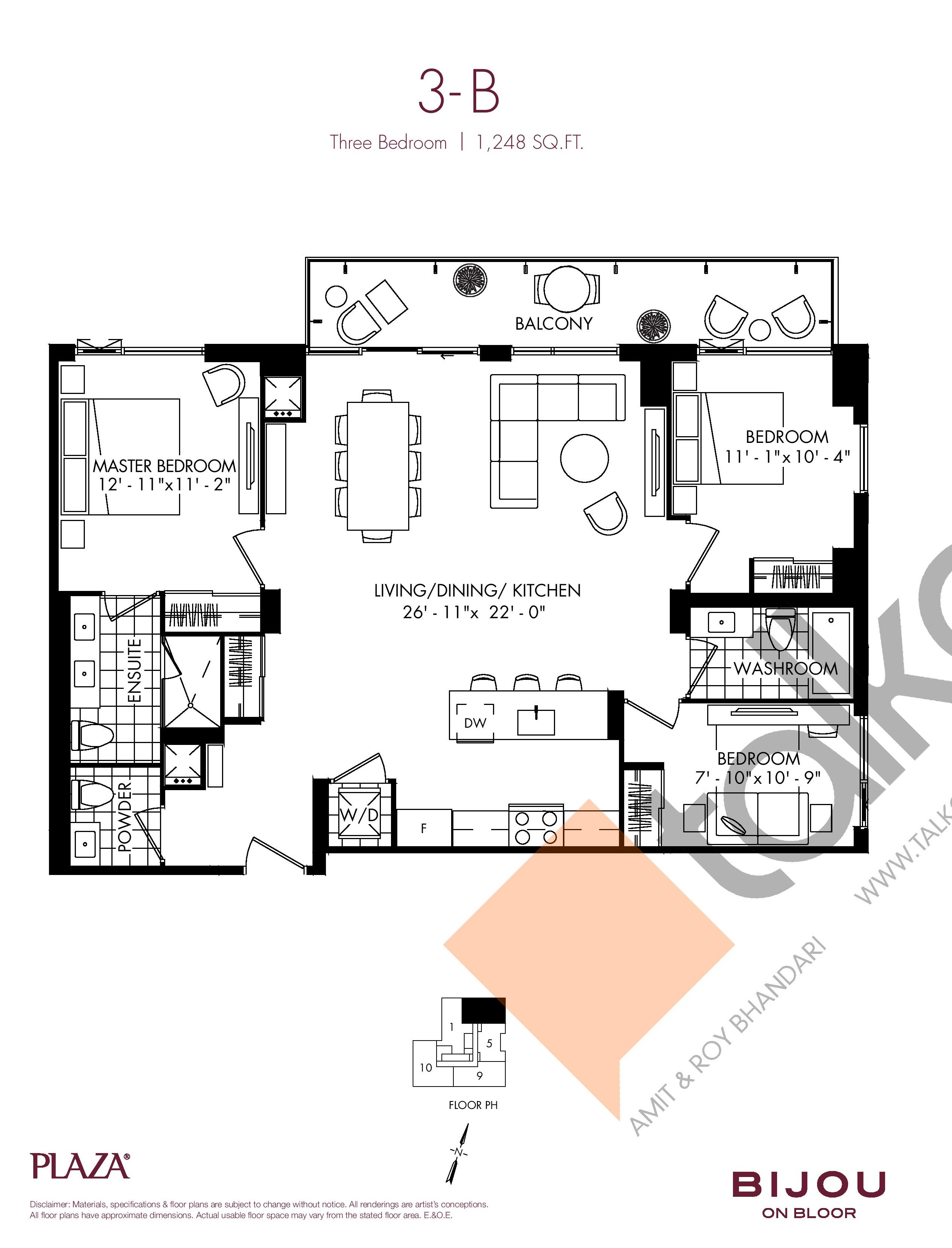 Suite 3-B Floor Plan at Bijou On Bloor Condos - 1248 sq.ft