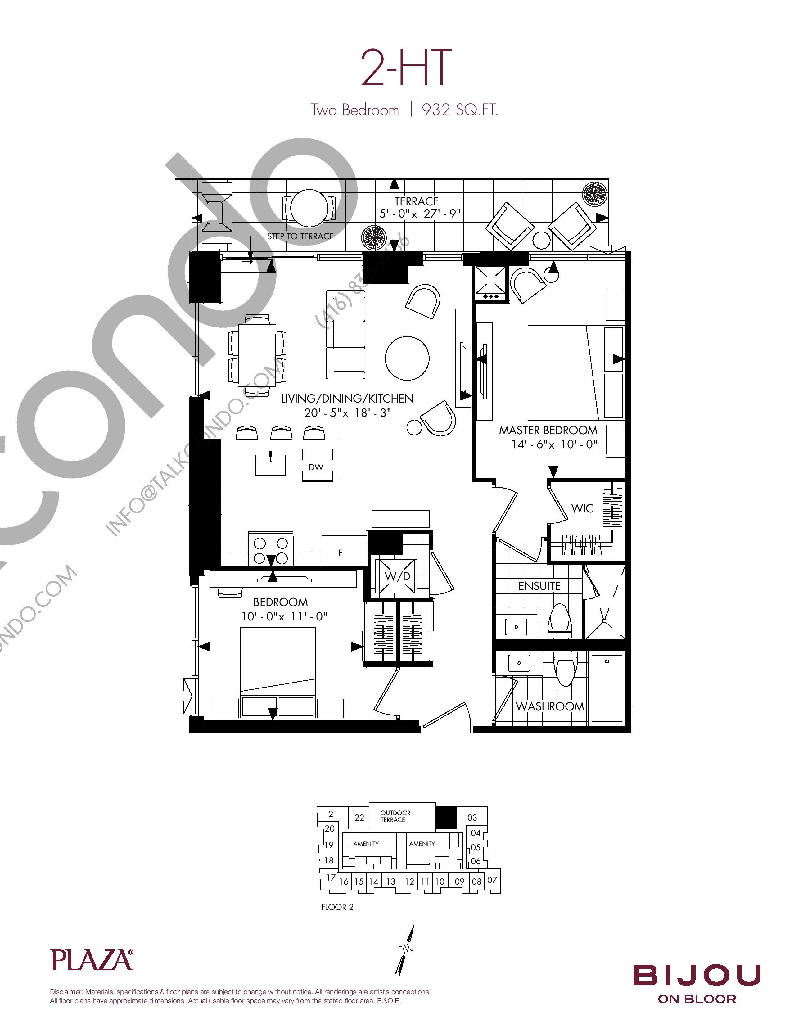 2-HT Floor Plan at Bijou On Bloor Condos - 932 sq.ft
