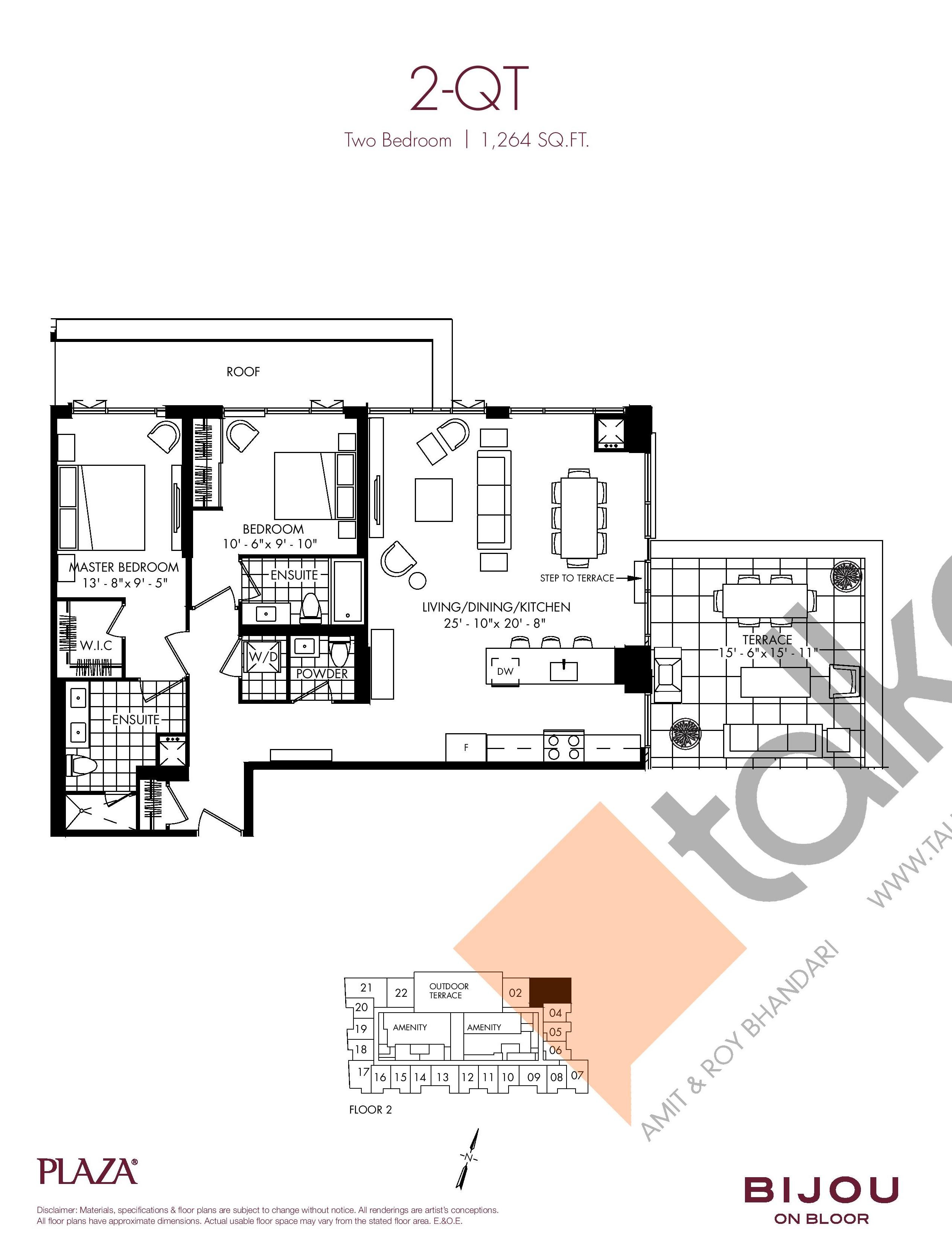 2-QT Floor Plan at Bijou On Bloor Condos - 1264 sq.ft