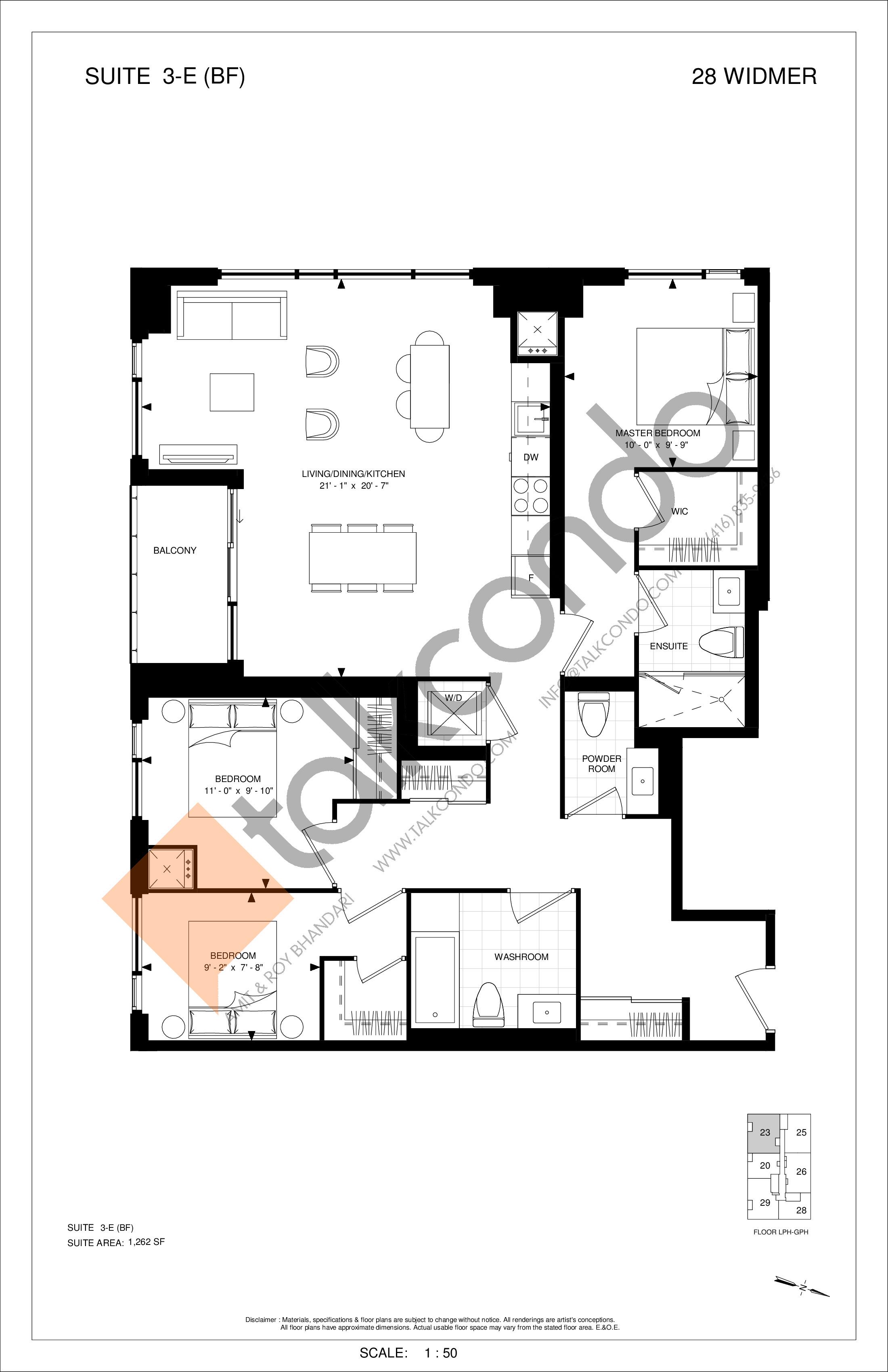 3-E (BF) Floor Plan at Encore Theatre District Condos - 1262 sq.ft