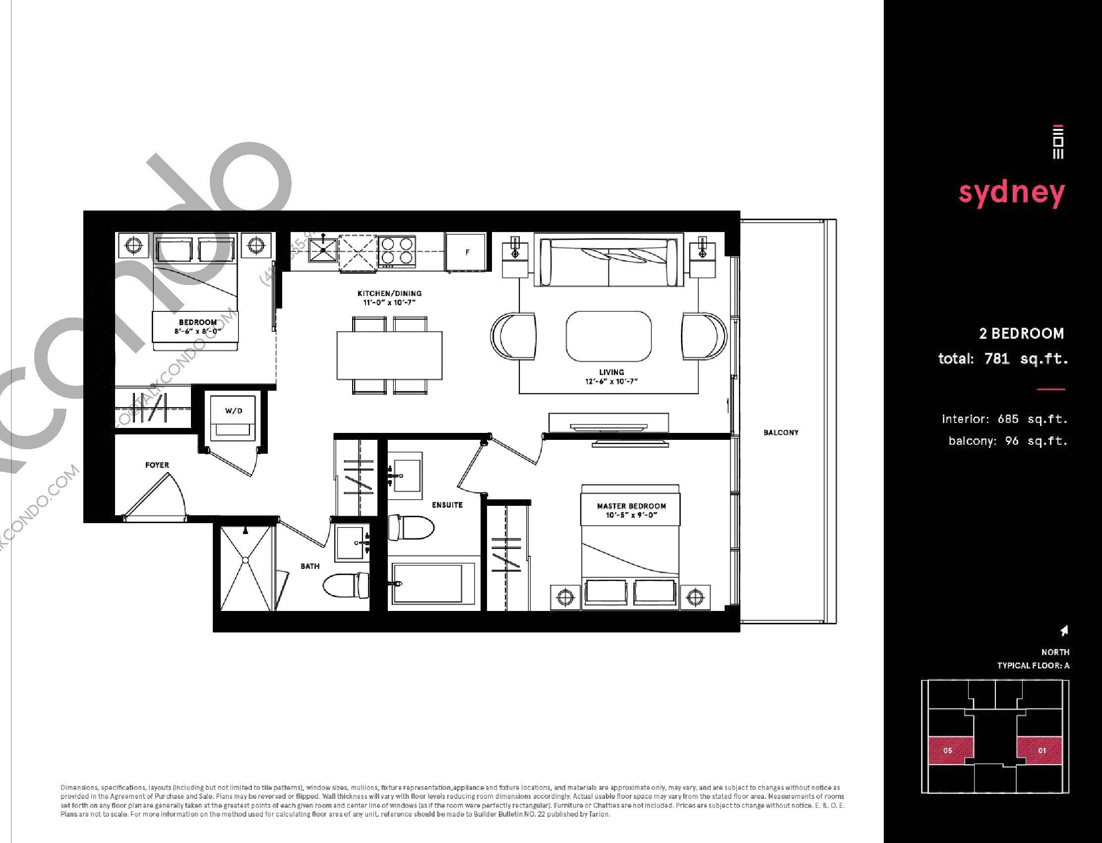 Sydney Floor Plan at Exchange District Condos - 685 sq.ft
