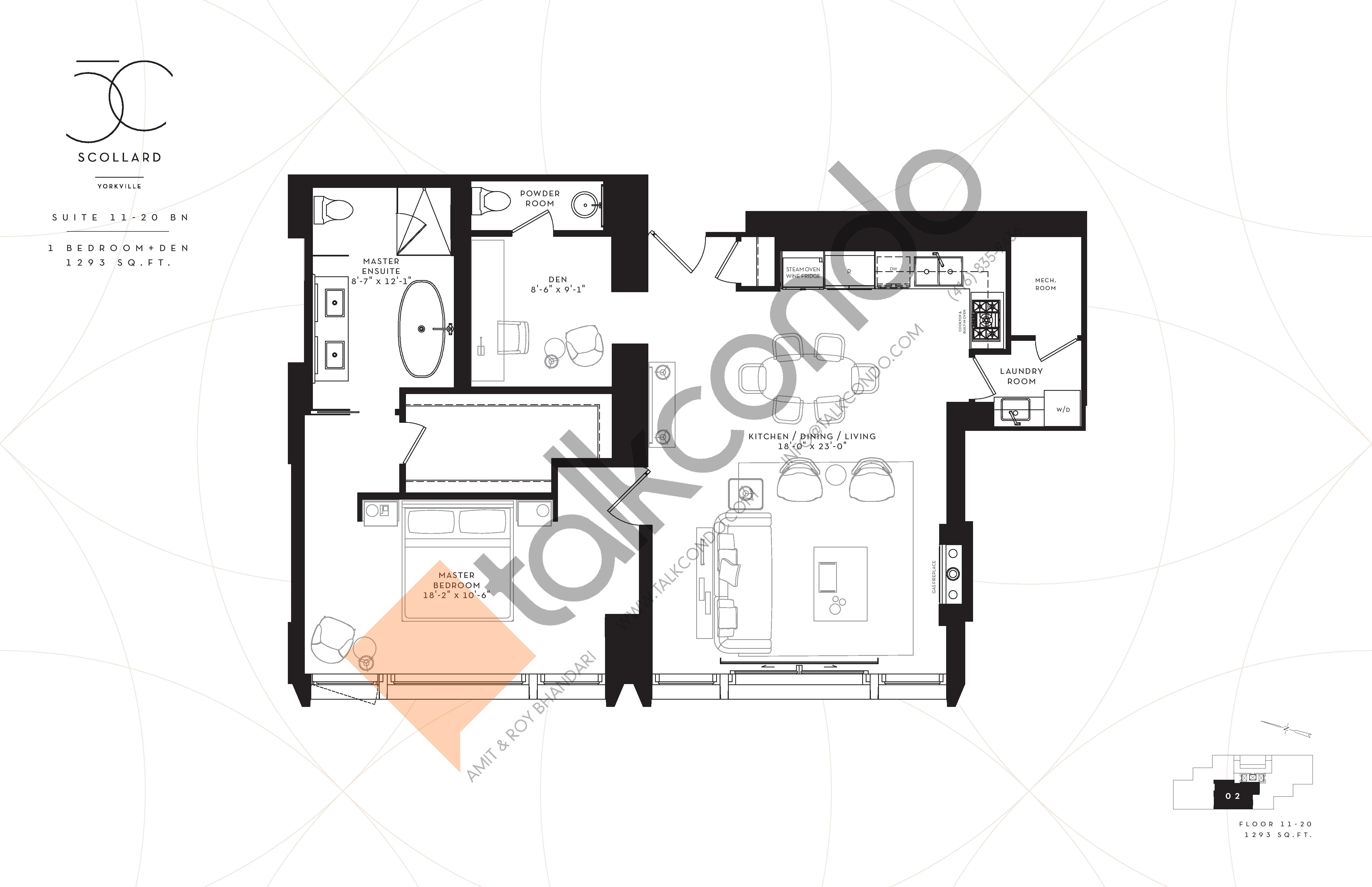 Suite 11-20BN Floor Plan at Fifty Scollard Condos - 1293 sq.ft