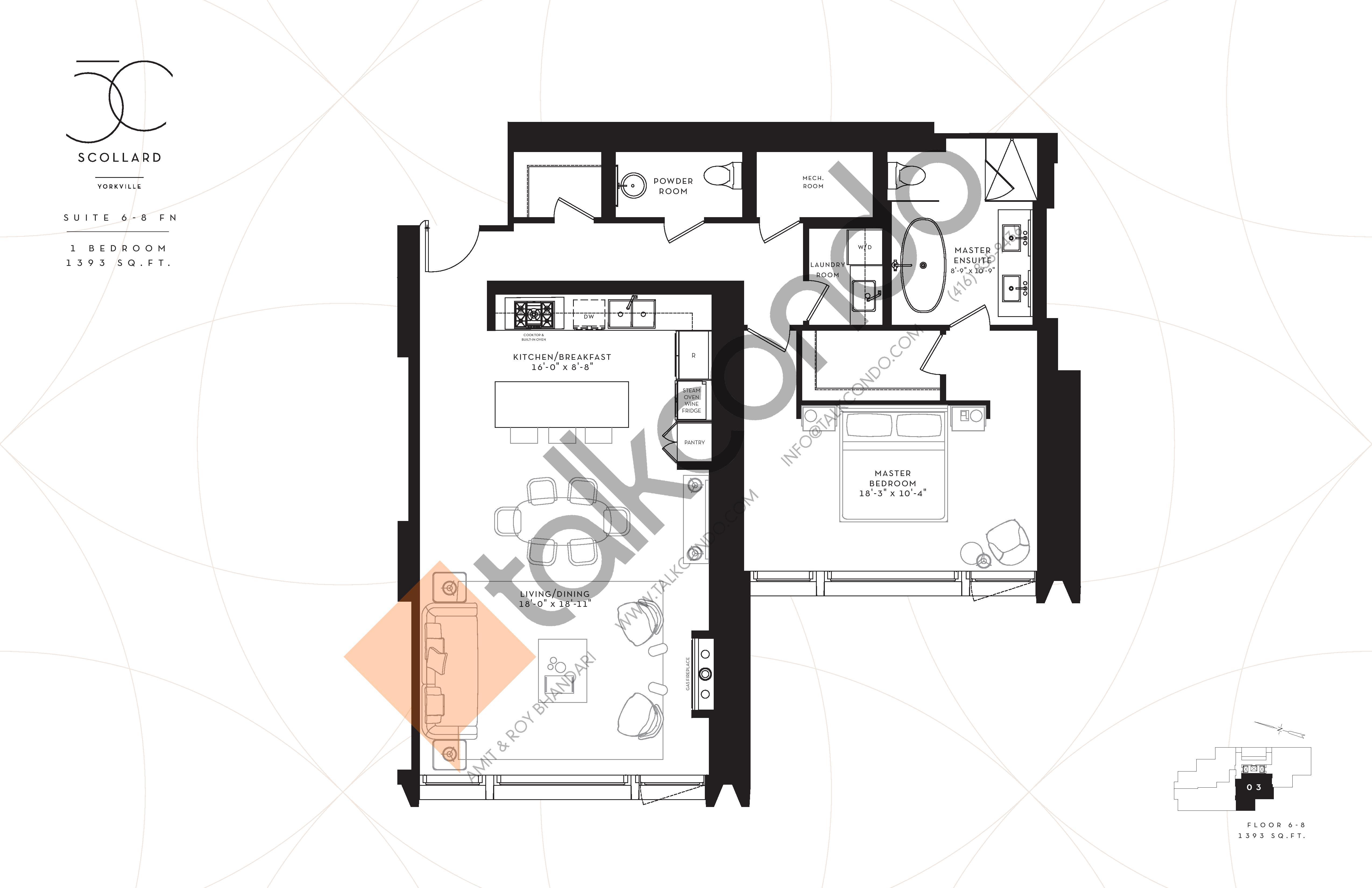 Suite 6-8FN Floor Plan at Fifty Scollard Condos - 1393 sq.ft