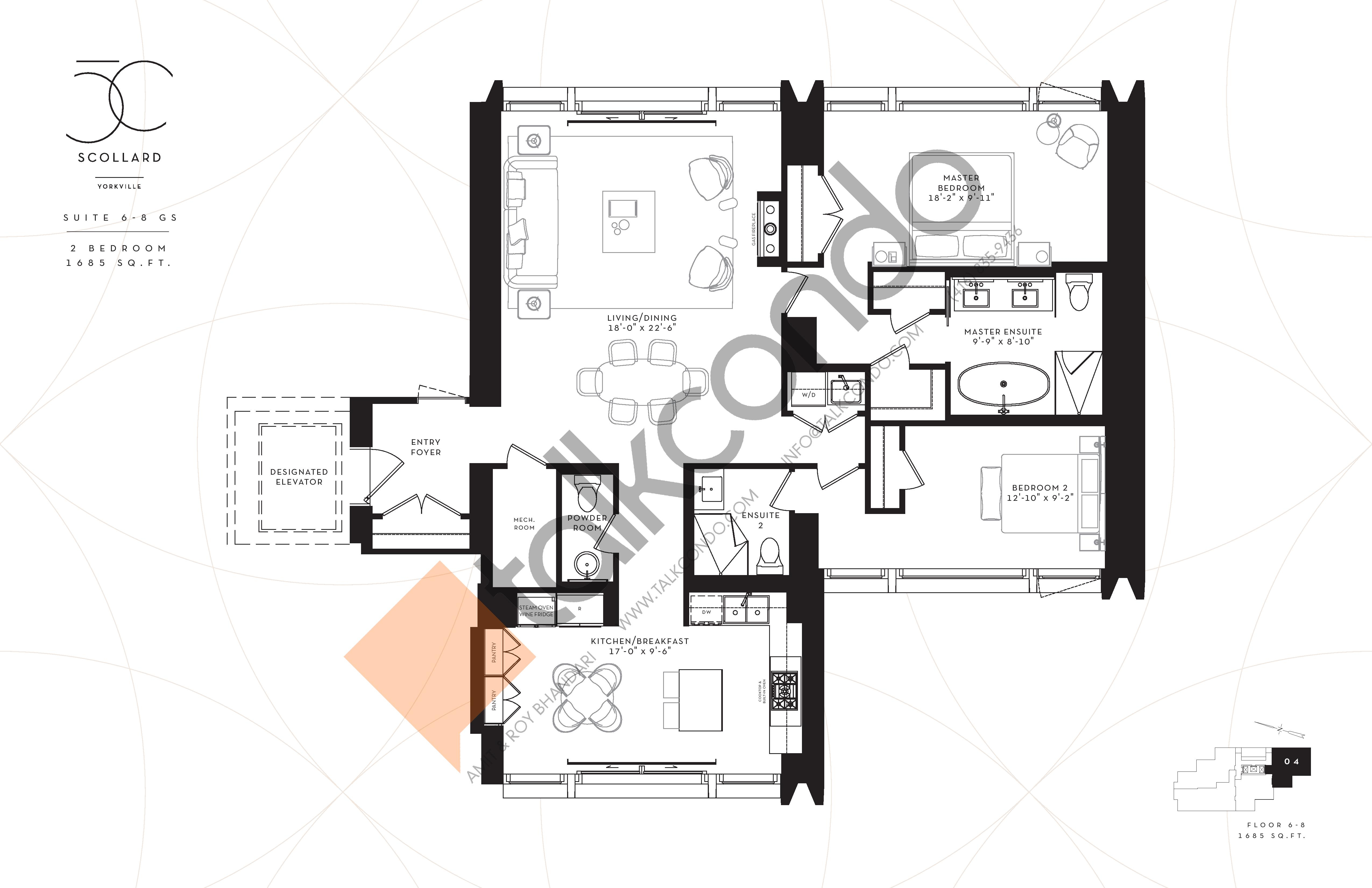 Suite 6-8GS Floor Plan at Fifty Scollard Condos - 1685 sq.ft
