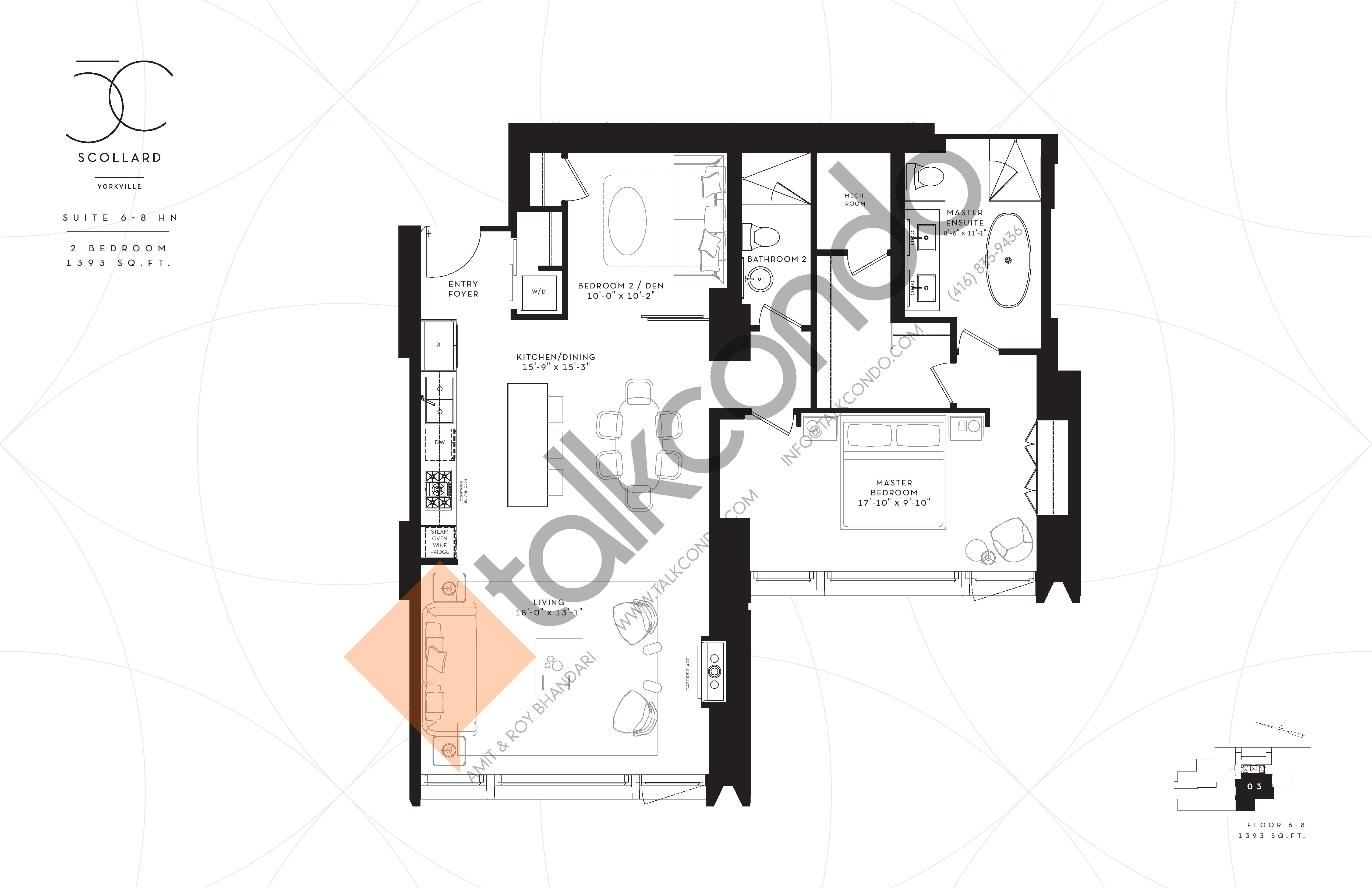 Suite 6-8HN Floor Plan at Fifty Scollard Condos - 1393 sq.ft